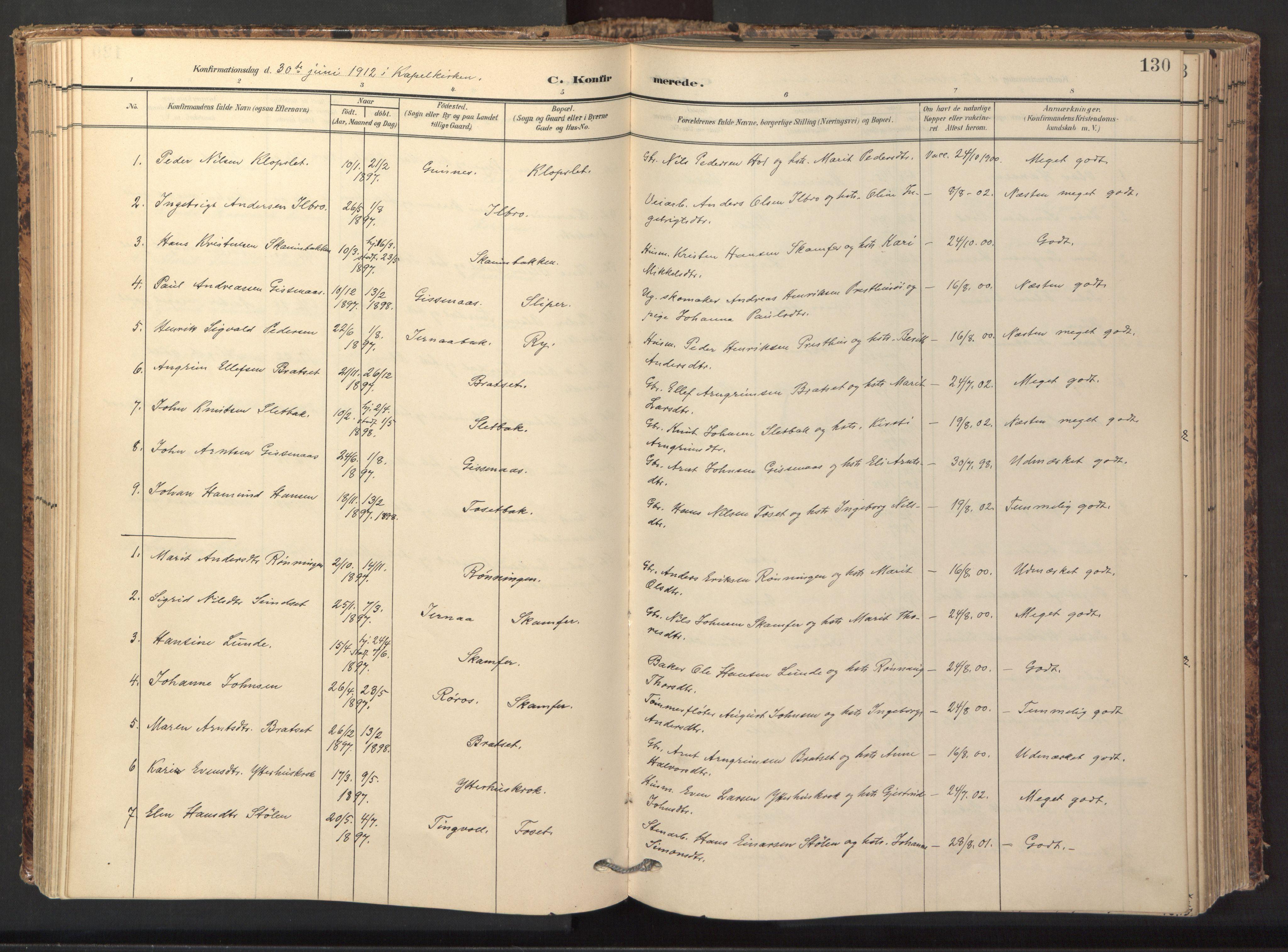 SAT, Ministerialprotokoller, klokkerbøker og fødselsregistre - Sør-Trøndelag, 674/L0873: Ministerialbok nr. 674A05, 1908-1923, s. 130