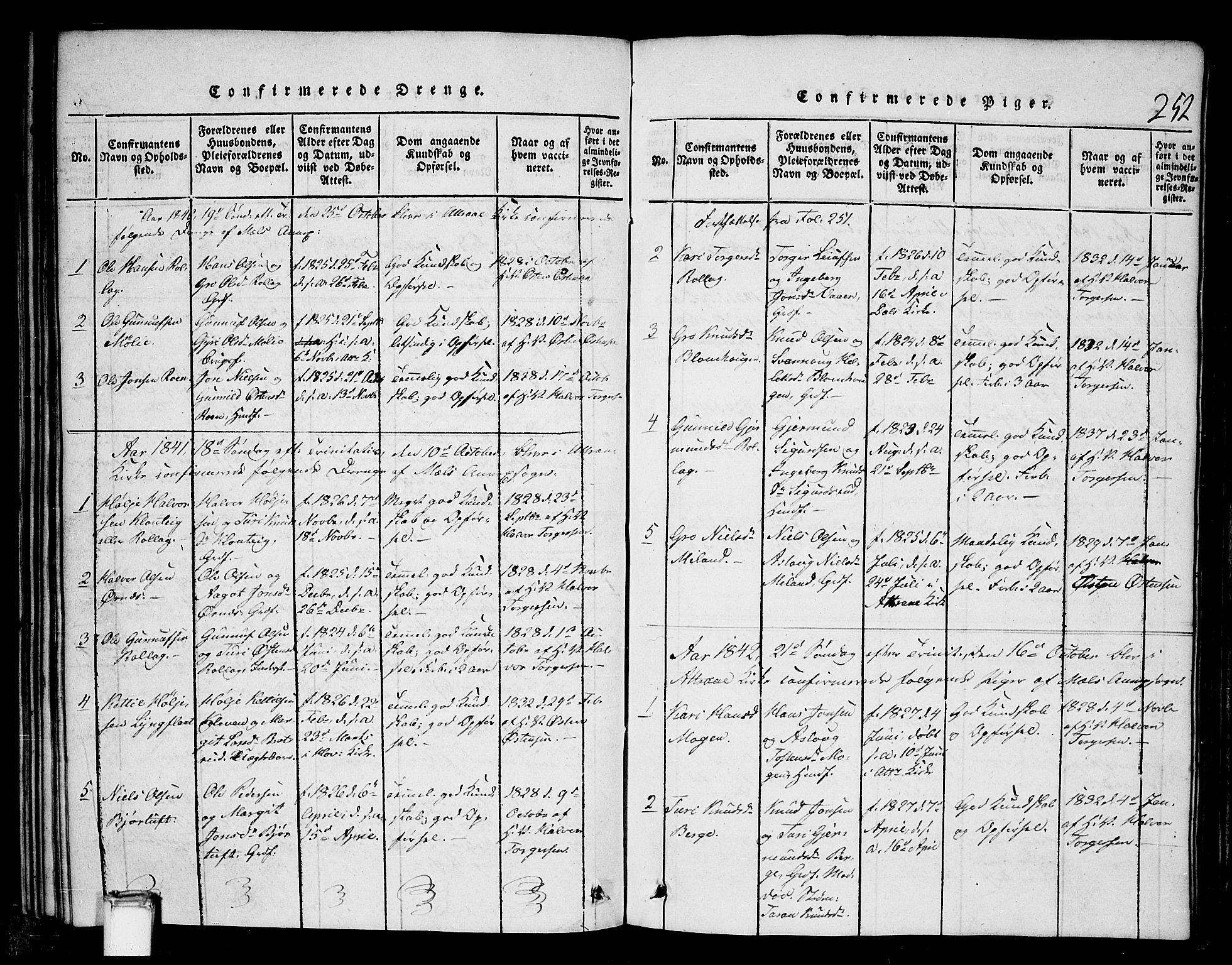 SAKO, Tinn kirkebøker, G/Gb/L0001: Klokkerbok nr. II 1 /1, 1815-1850, s. 252
