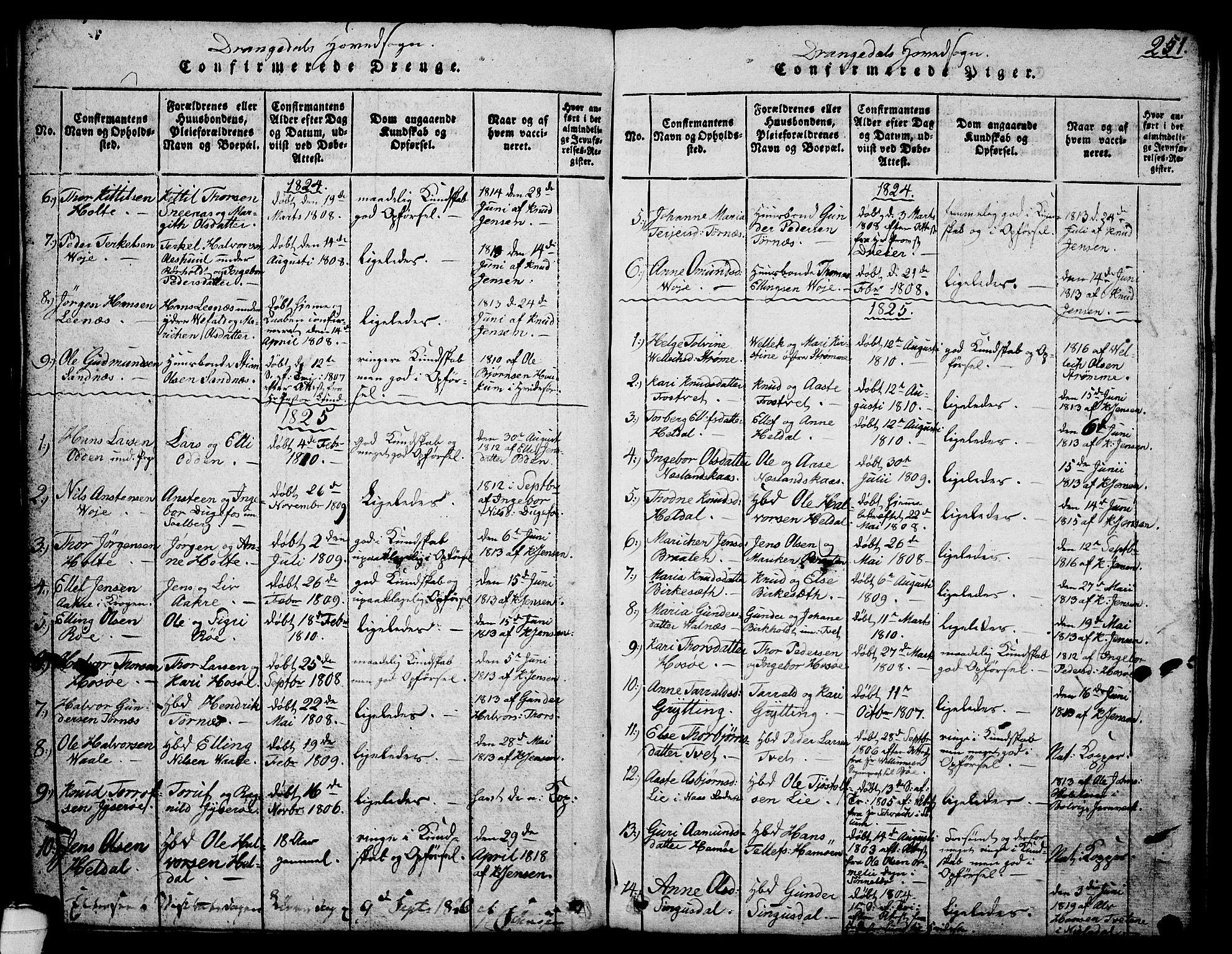 SAKO, Drangedal kirkebøker, G/Ga/L0001: Klokkerbok nr. I 1 /1, 1814-1856, s. 251