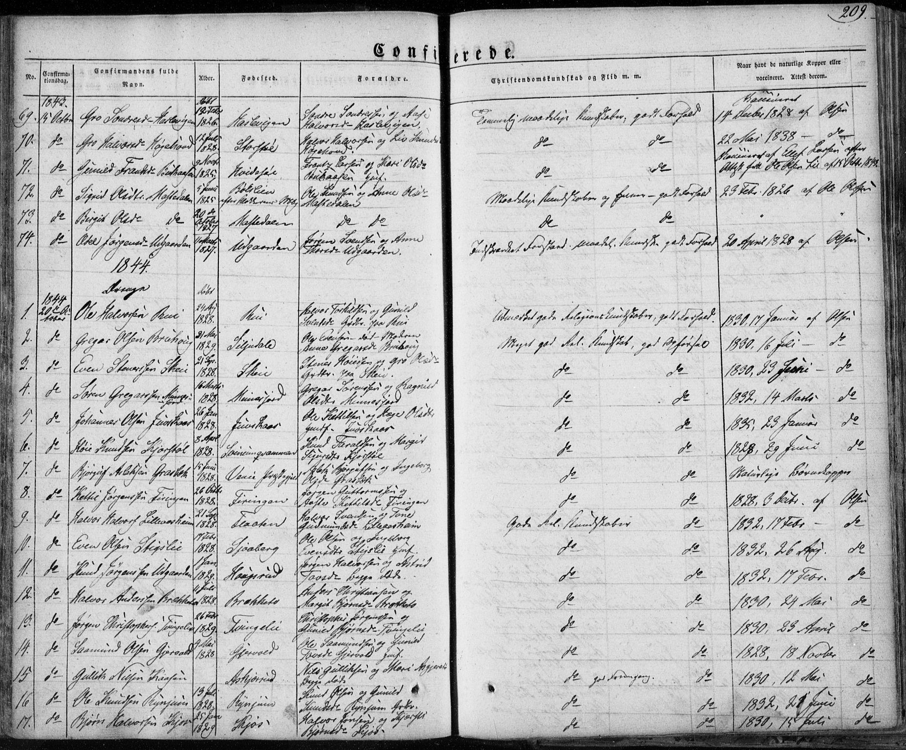 SAKO, Seljord kirkebøker, F/Fa/L0011: Ministerialbok nr. I 11, 1831-1849, s. 209