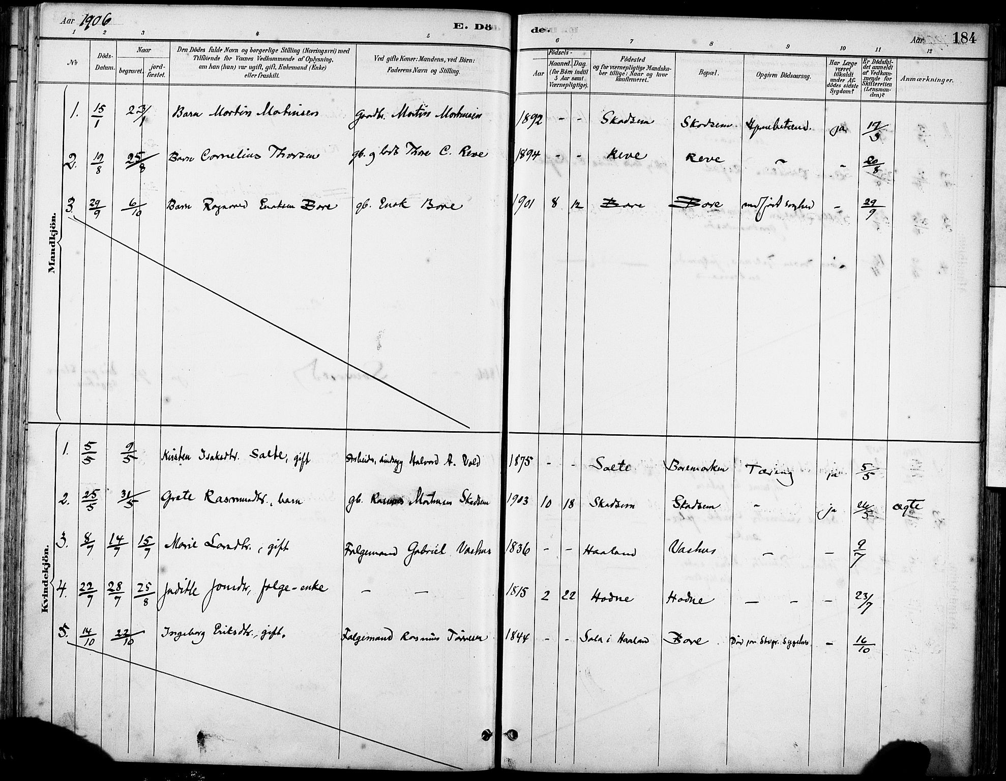 SAST, Klepp sokneprestkontor, 30BA/L0008: Ministerialbok nr. A 9, 1886-1919, s. 184