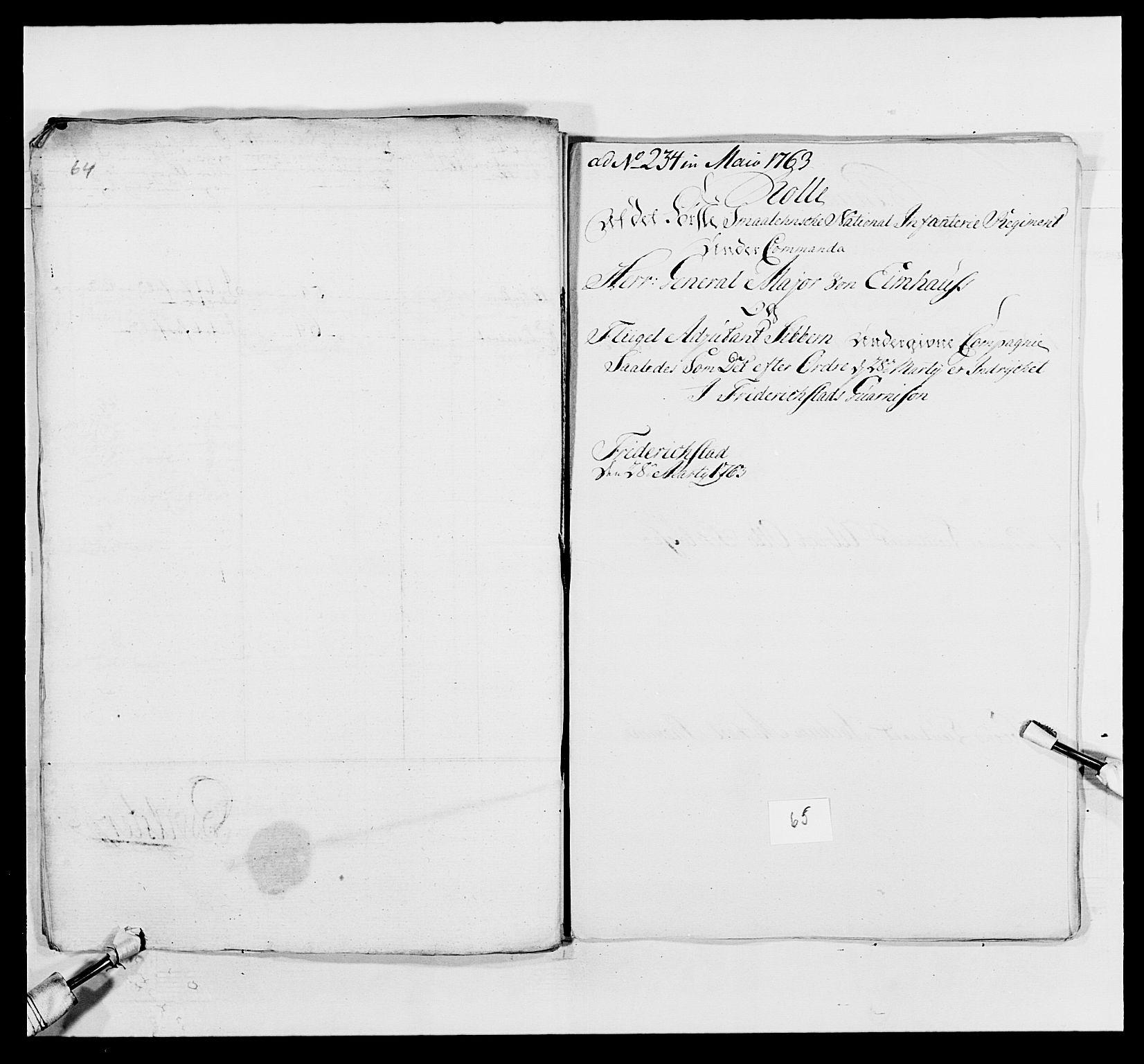 RA, Kommanderende general (KG I) med Det norske krigsdirektorium, E/Ea/L0495: 1. Smålenske regiment, 1732-1763, s. 812