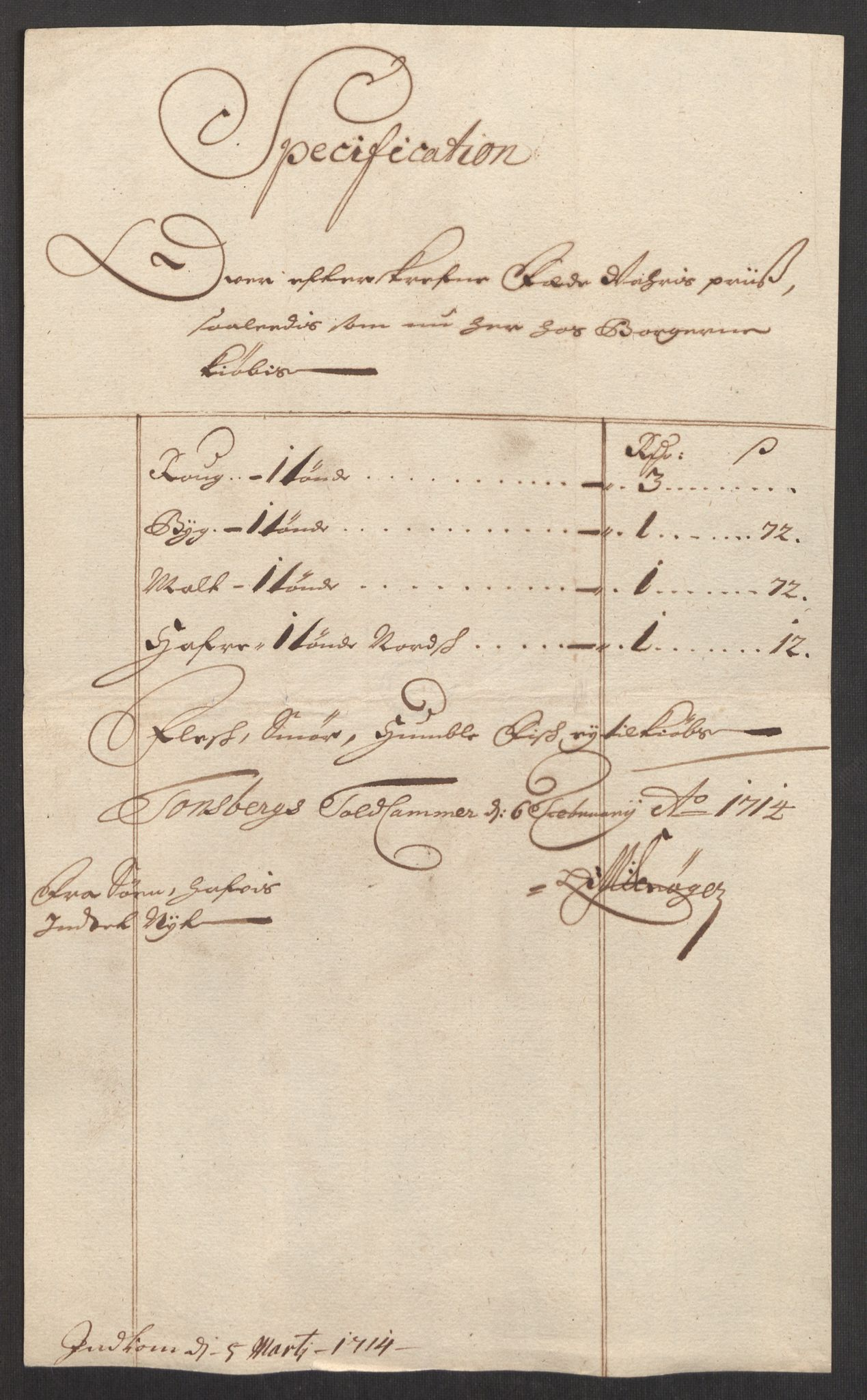 RA, Rentekammeret inntil 1814, Realistisk ordnet avdeling, Oe/L0001: [Ø1]: Priskuranter, 1712-1739, s. 53