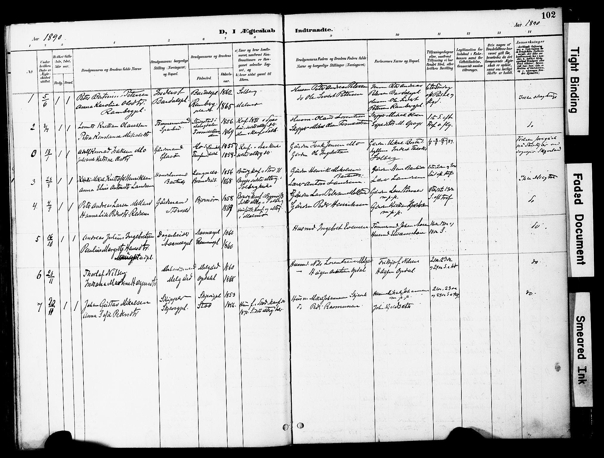 SAT, Ministerialprotokoller, klokkerbøker og fødselsregistre - Nord-Trøndelag, 741/L0396: Ministerialbok nr. 741A10, 1889-1901, s. 102