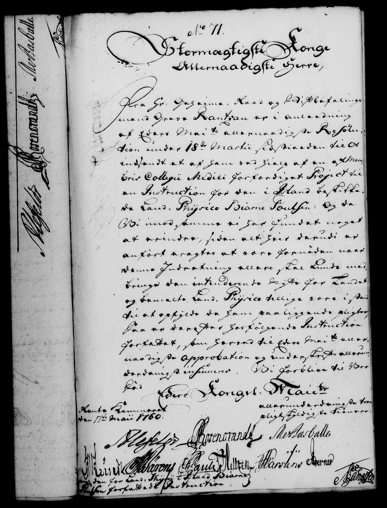 RA, Rentekammeret, Kammerkanselliet, G/Gf/Gfa/L0042: Norsk relasjons- og resolusjonsprotokoll (merket RK 52.42), 1760, s. 267