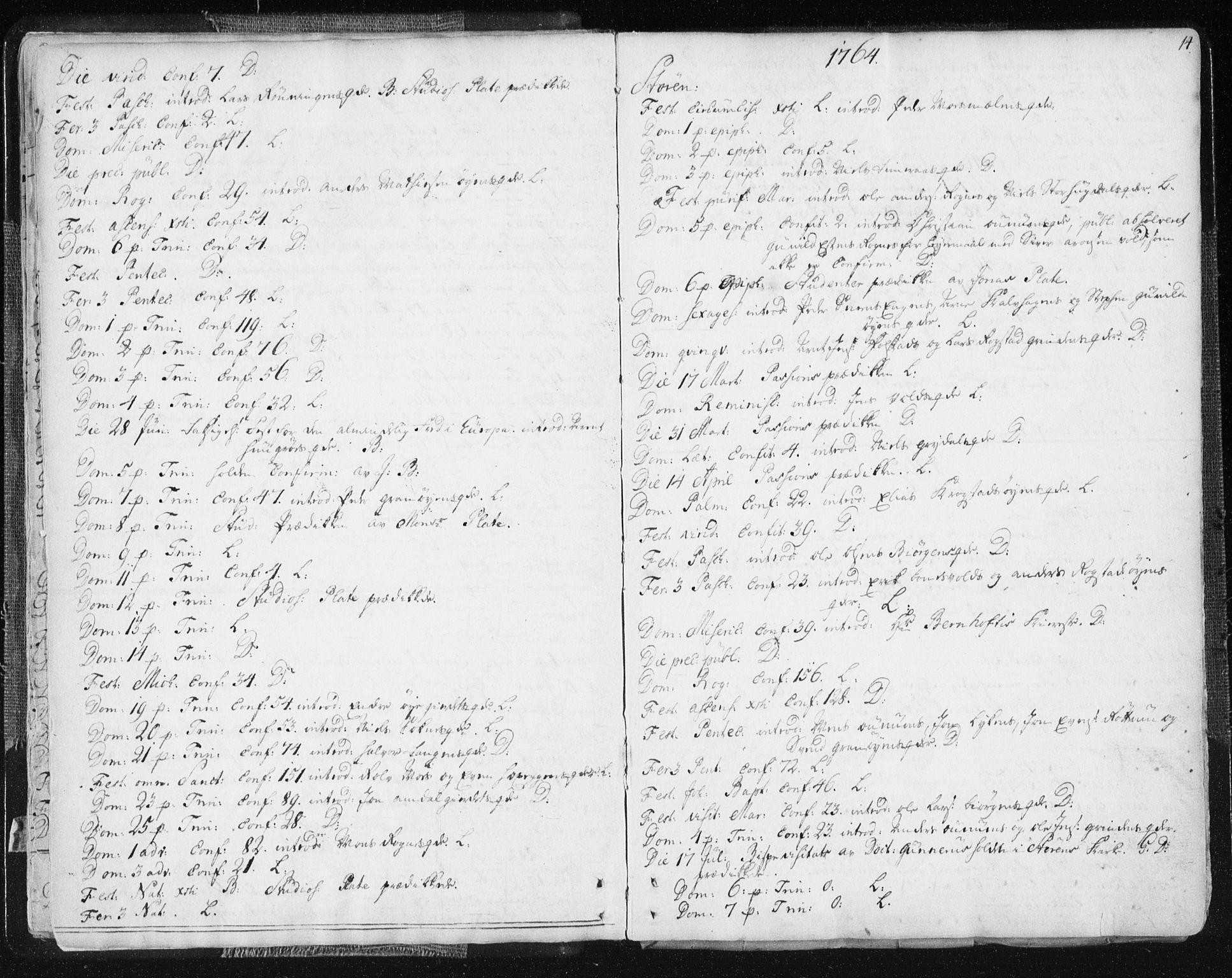 SAT, Ministerialprotokoller, klokkerbøker og fødselsregistre - Sør-Trøndelag, 687/L0991: Ministerialbok nr. 687A02, 1747-1790, s. 14