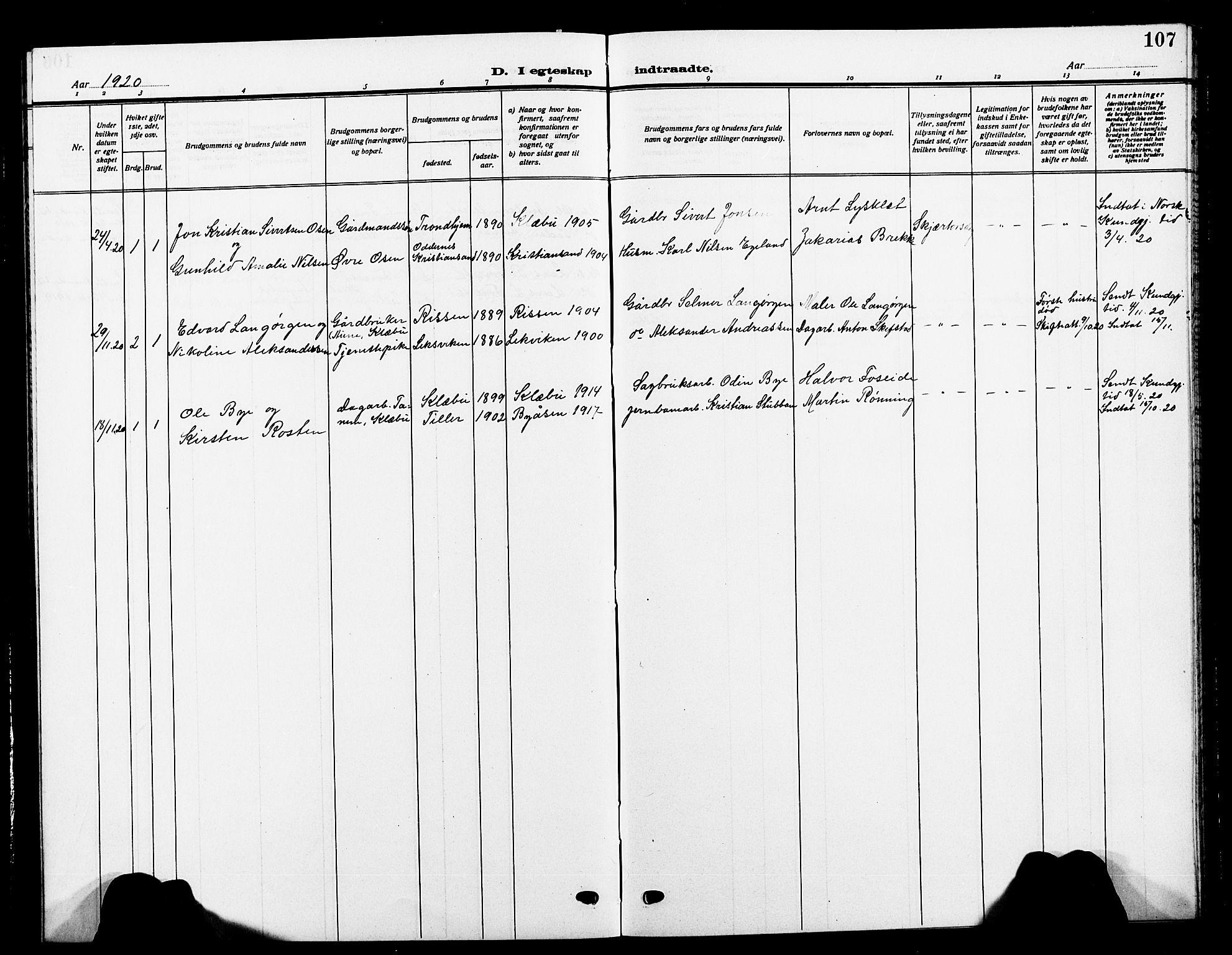 SAT, Ministerialprotokoller, klokkerbøker og fødselsregistre - Sør-Trøndelag, 618/L0453: Klokkerbok nr. 618C04, 1907-1925, s. 107