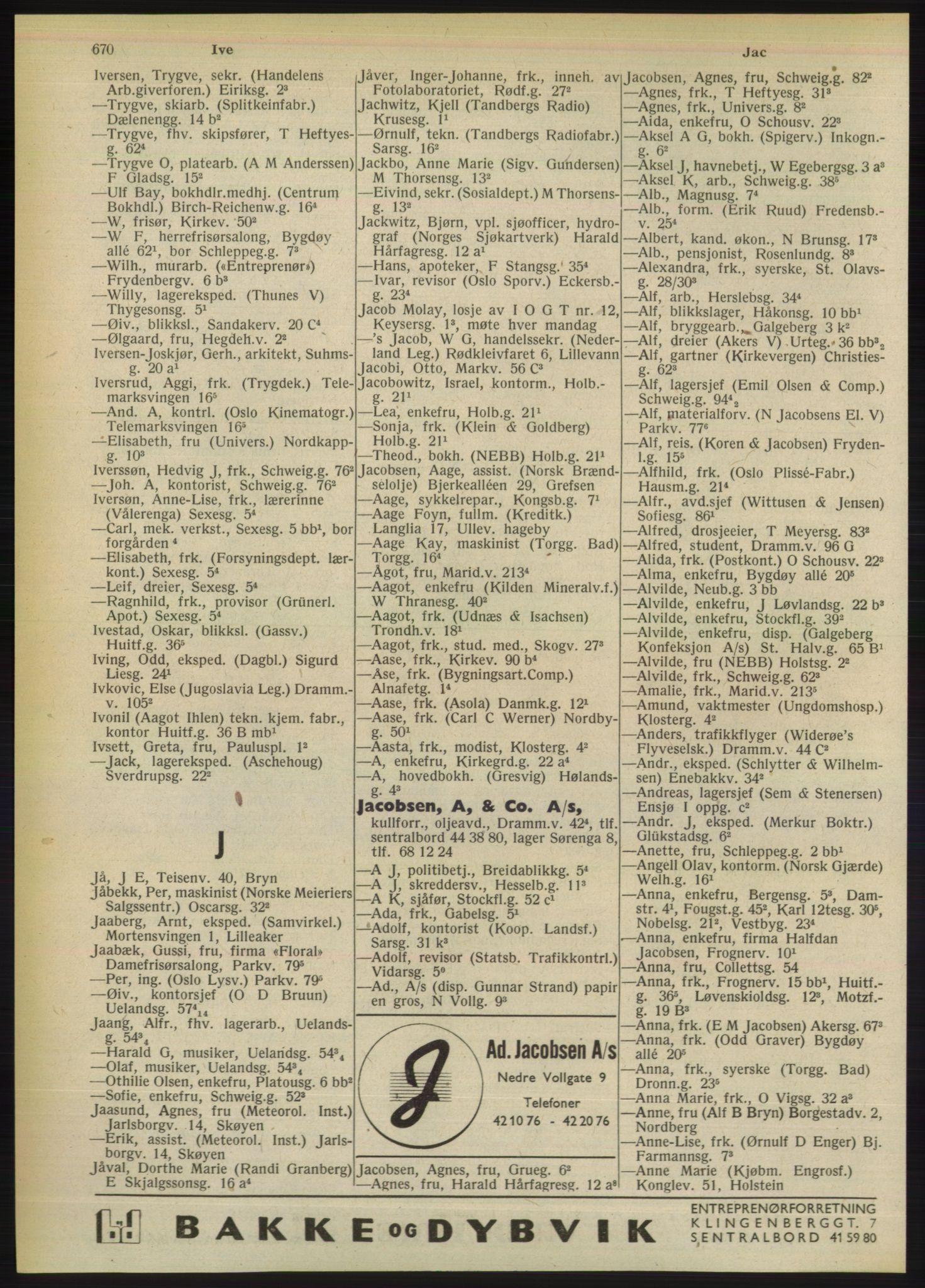 RA, Oslo adressebok (publikasjon)*, 1949, s. 670