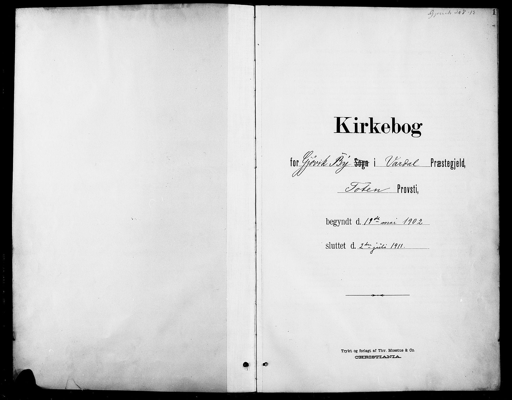 SAH, Vardal prestekontor, H/Ha/Hab/L0012: Klokkerbok nr. 12, 1902-1911, s. 1