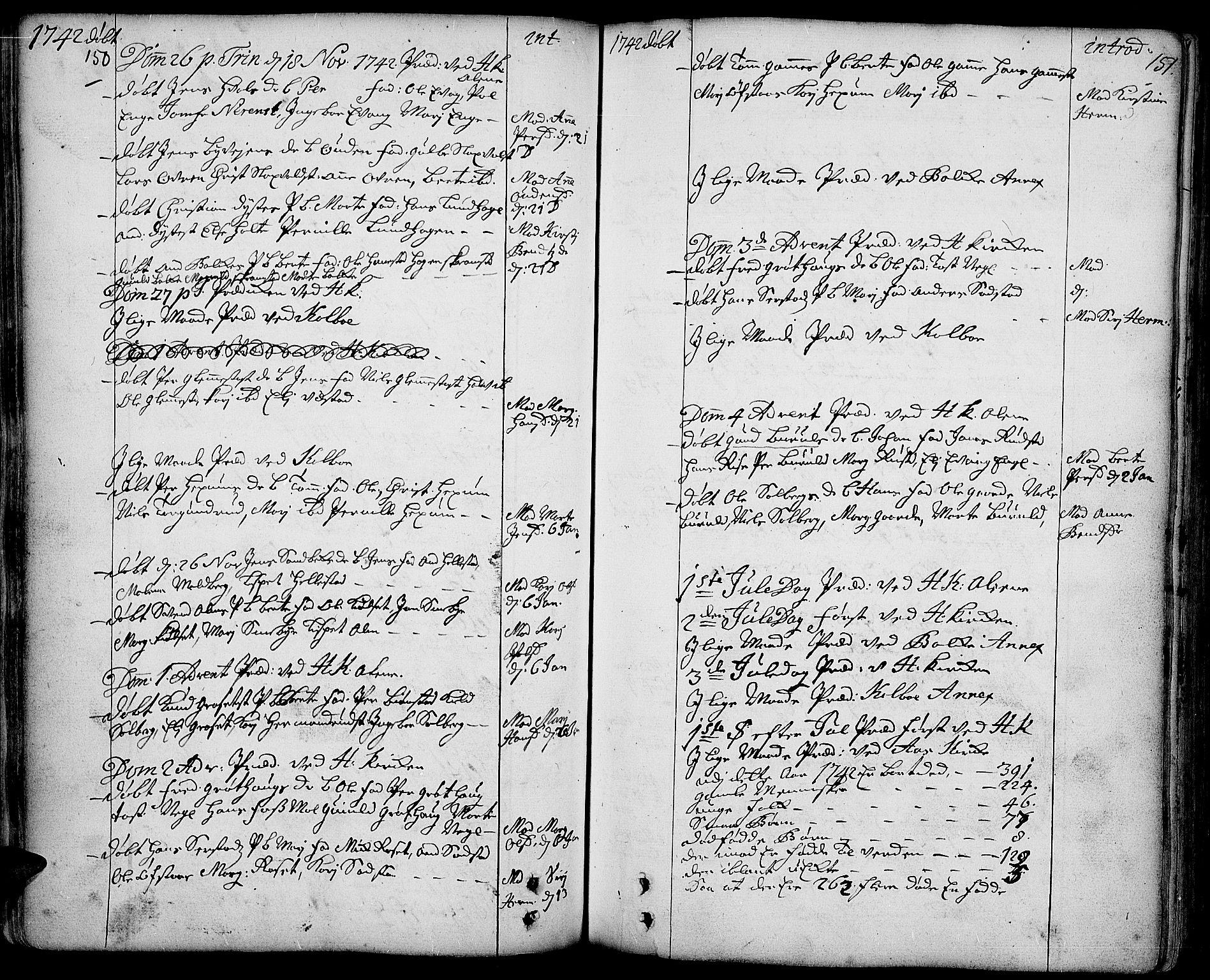 SAH, Toten prestekontor, Ministerialbok nr. 3, 1734-1751, s. 150-151