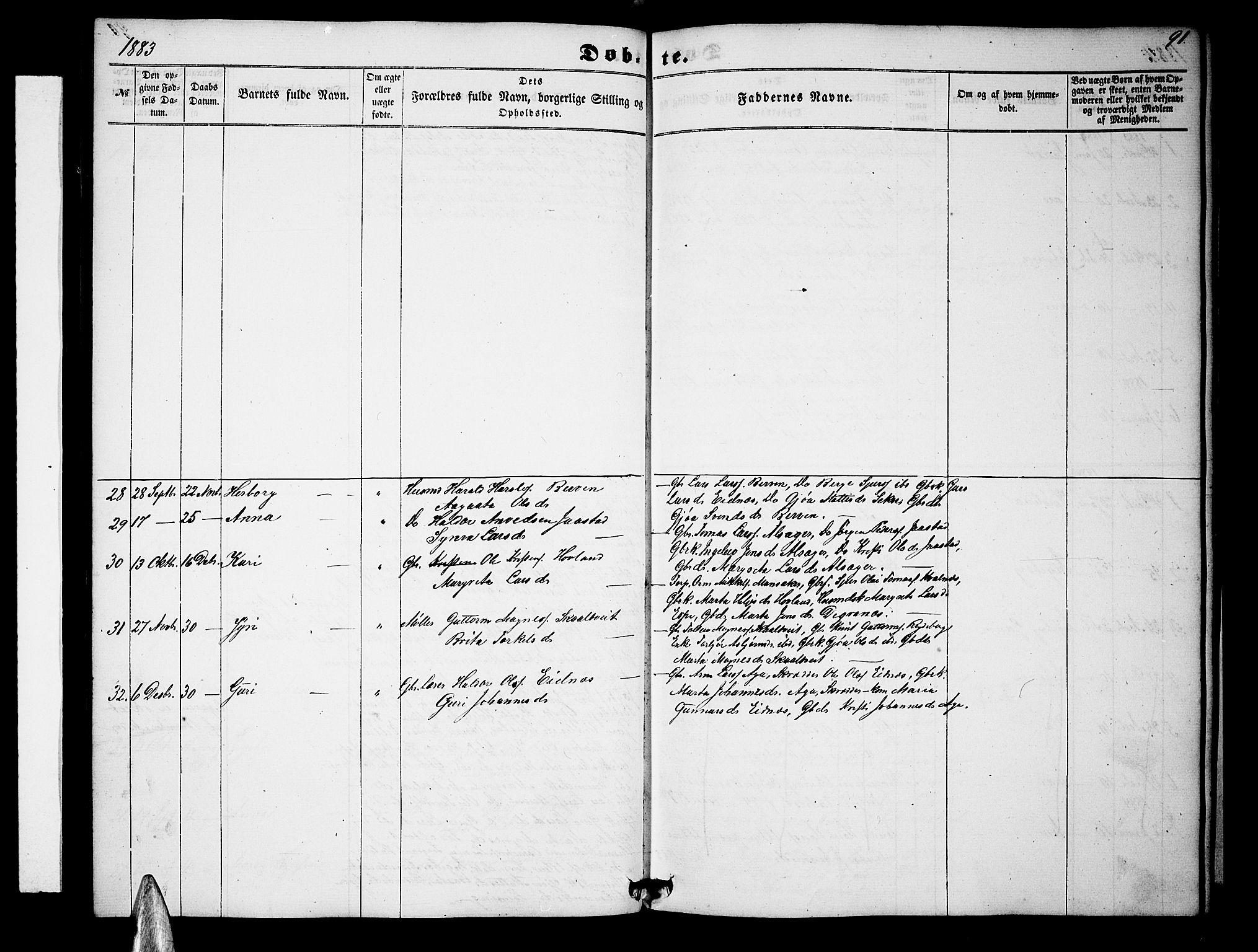 SAB, Ullensvang Sokneprestembete, H/Hab: Klokkerbok nr. B 10, 1858-1886, s. 91