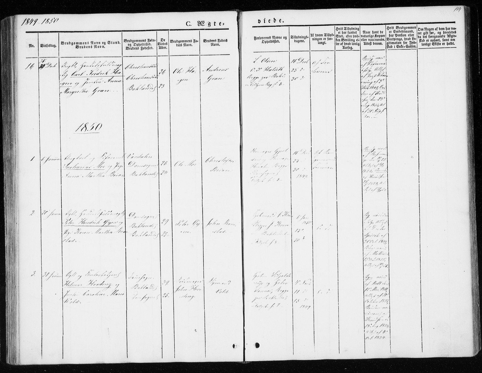 SAT, Ministerialprotokoller, klokkerbøker og fødselsregistre - Sør-Trøndelag, 604/L0183: Ministerialbok nr. 604A04, 1841-1850, s. 114