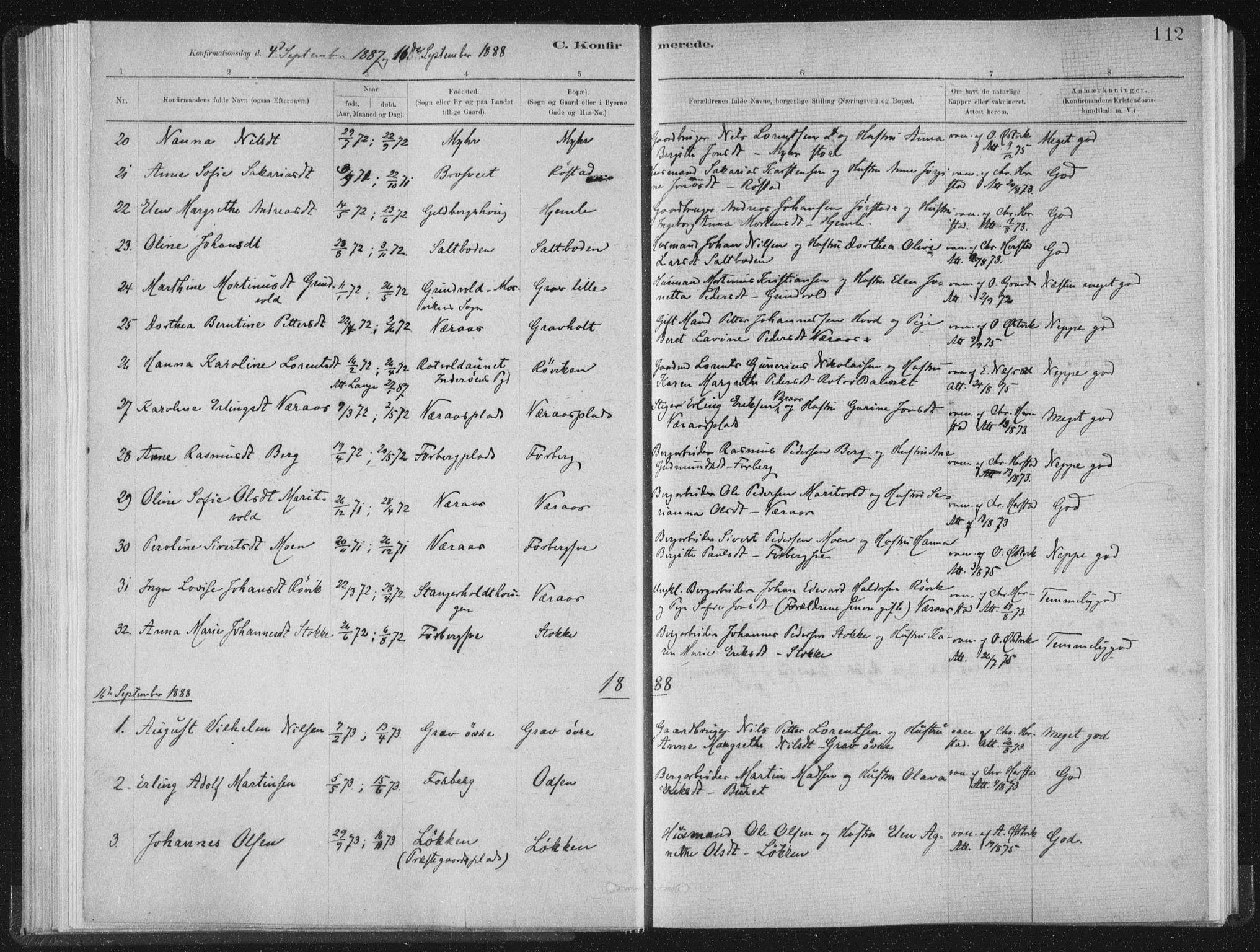 SAT, Ministerialprotokoller, klokkerbøker og fødselsregistre - Nord-Trøndelag, 722/L0220: Ministerialbok nr. 722A07, 1881-1908, s. 112