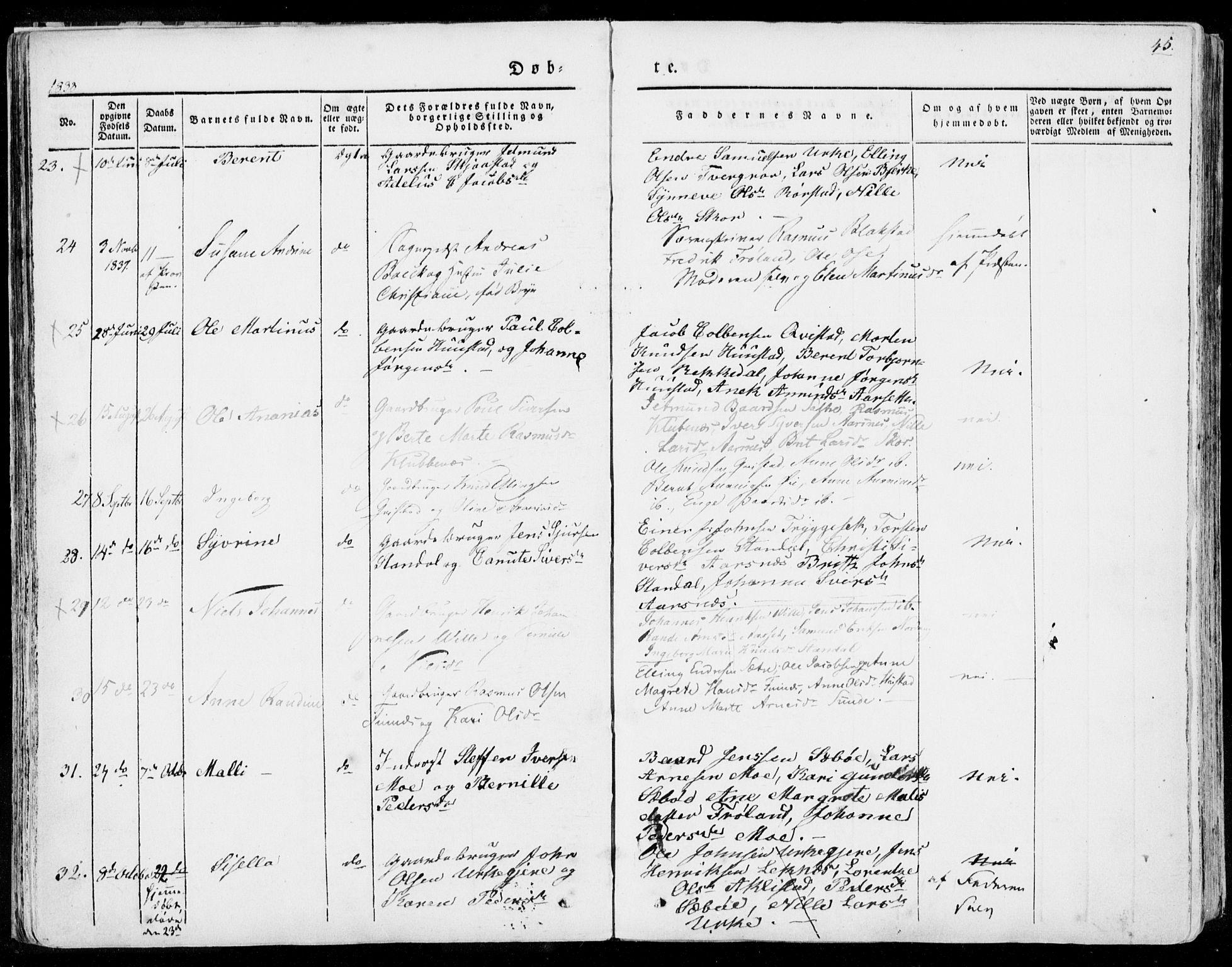 SAT, Ministerialprotokoller, klokkerbøker og fødselsregistre - Møre og Romsdal, 515/L0208: Ministerialbok nr. 515A04, 1830-1846, s. 45