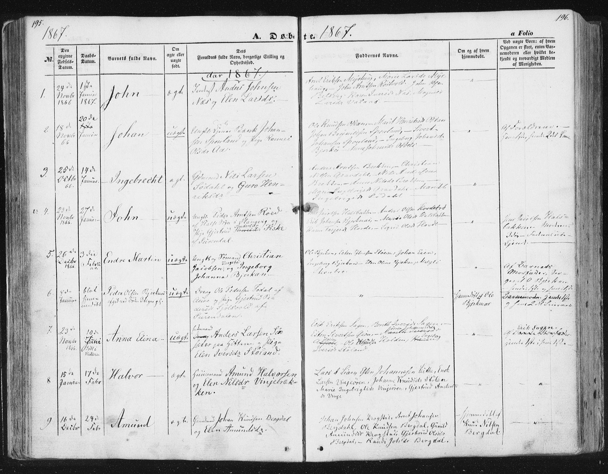 SAT, Ministerialprotokoller, klokkerbøker og fødselsregistre - Sør-Trøndelag, 630/L0494: Ministerialbok nr. 630A07, 1852-1868, s. 195-196