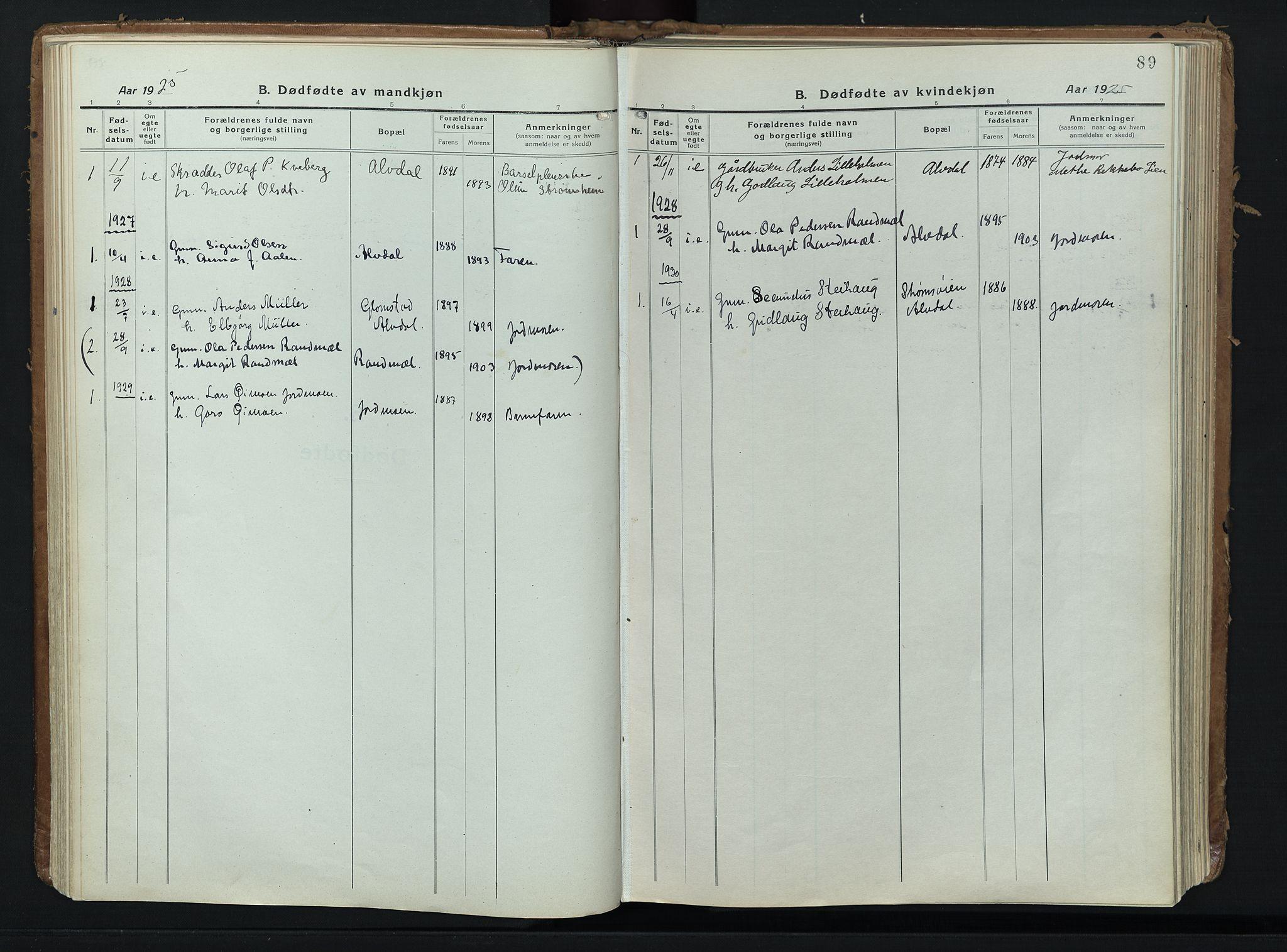 SAH, Alvdal prestekontor, Ministerialbok nr. 6, 1920-1937, s. 89