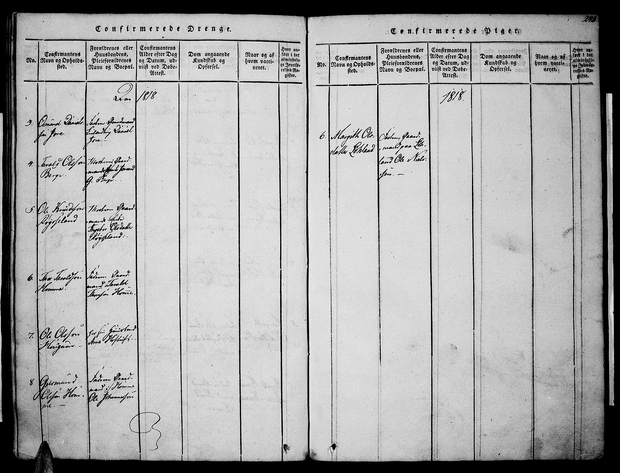 SAK, Valle sokneprestkontor, F/Fa/Fac/L0005: Ministerialbok nr. A 5 /1, 1816-1831, s. 243