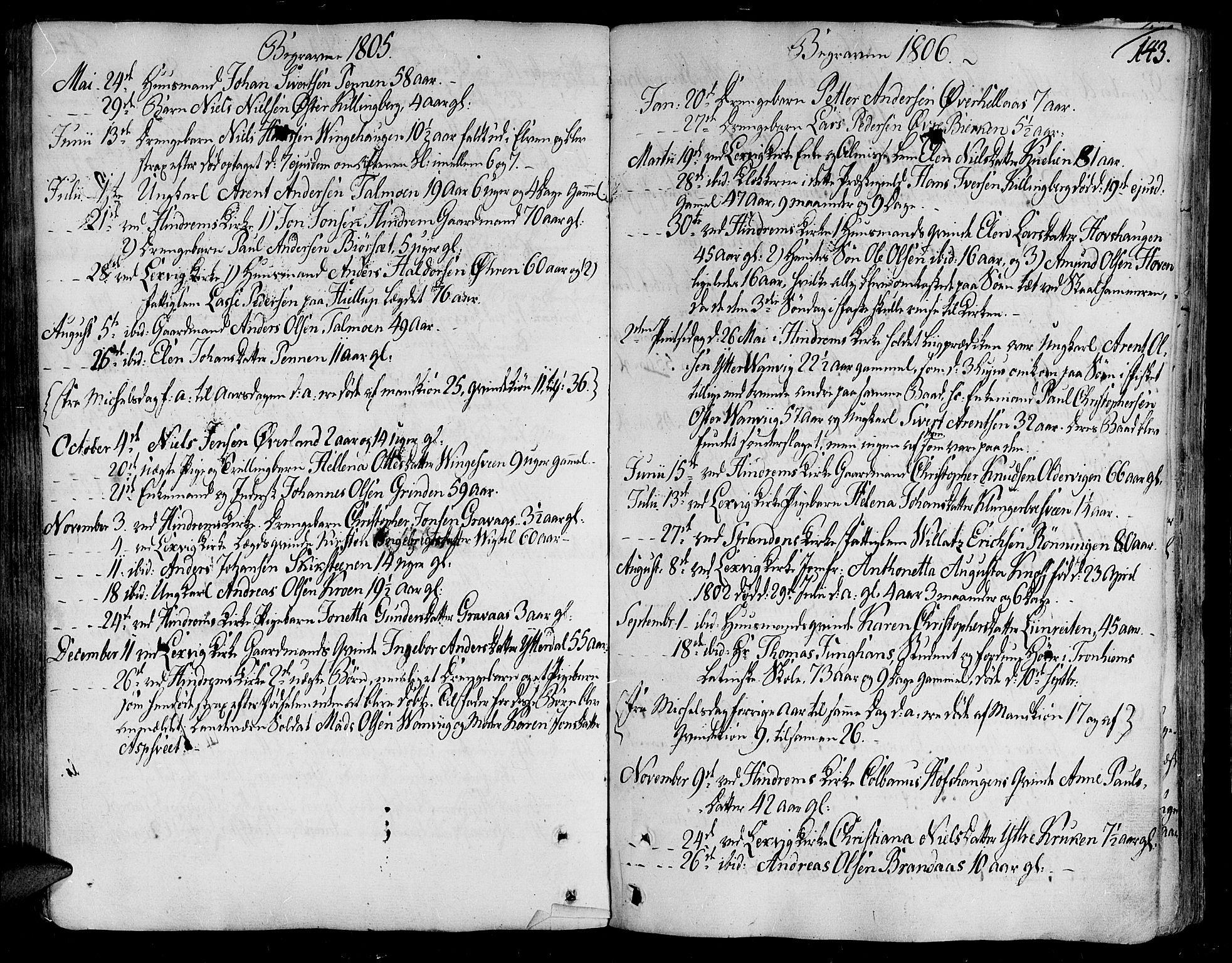 SAT, Ministerialprotokoller, klokkerbøker og fødselsregistre - Nord-Trøndelag, 701/L0004: Ministerialbok nr. 701A04, 1783-1816, s. 143