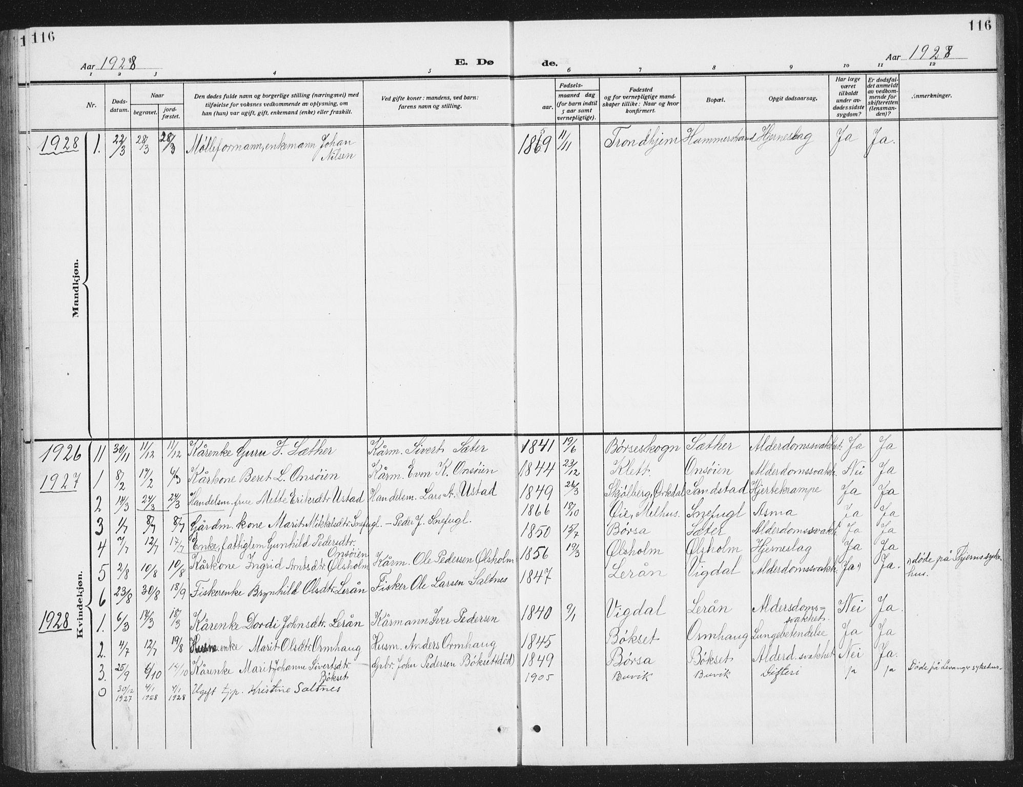SAT, Ministerialprotokoller, klokkerbøker og fødselsregistre - Sør-Trøndelag, 666/L0791: Klokkerbok nr. 666C04, 1909-1939, s. 116