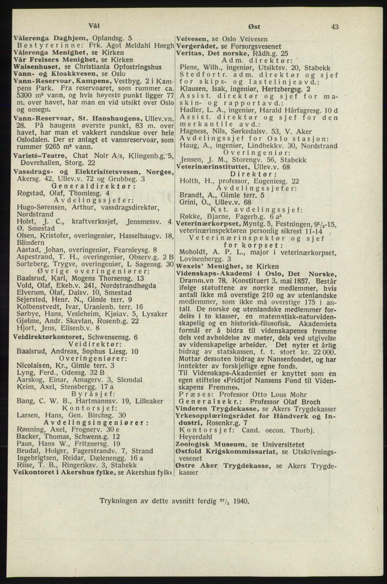 RA, Oslo adressebok (publikasjon)*, 1940, s. 43