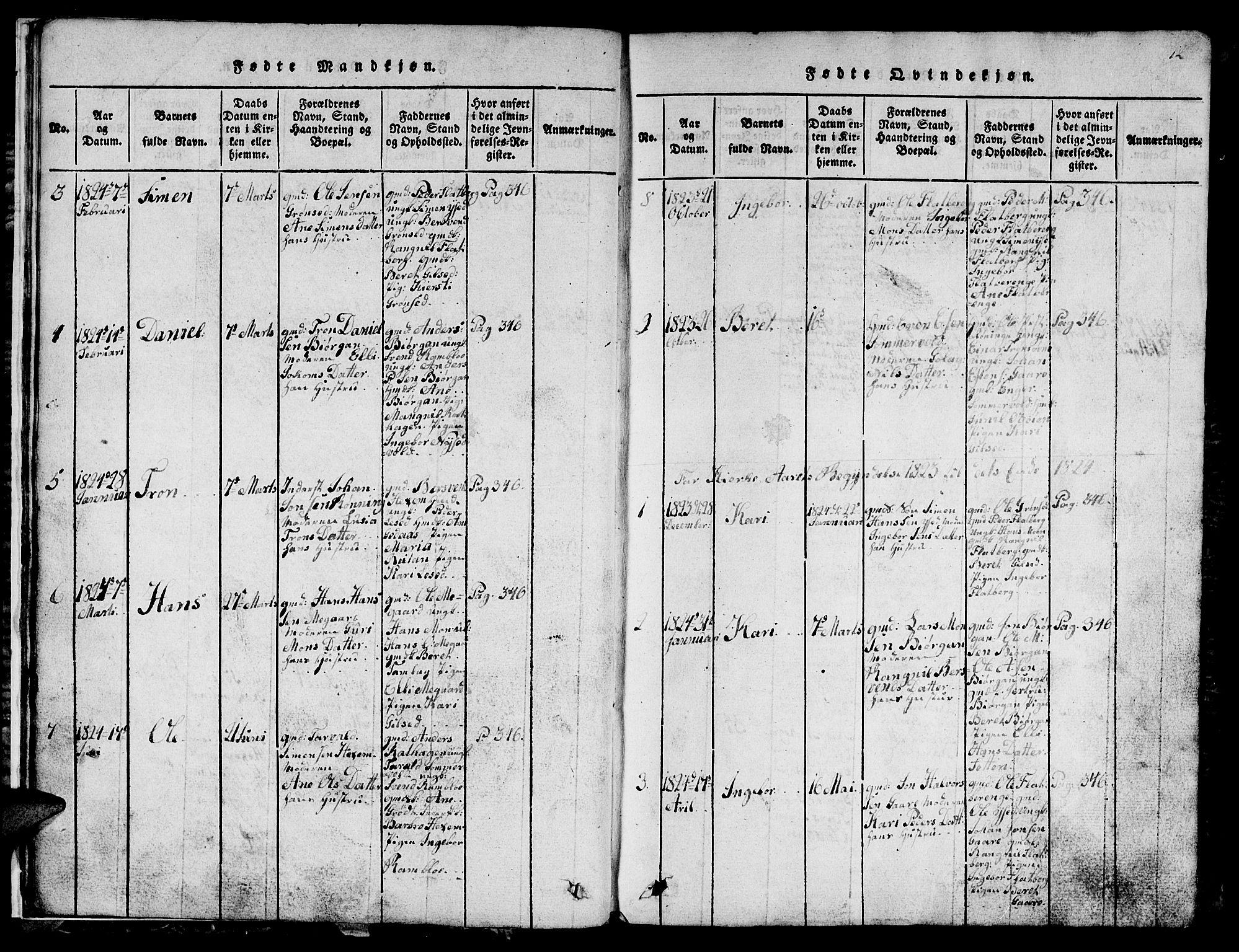 SAT, Ministerialprotokoller, klokkerbøker og fødselsregistre - Sør-Trøndelag, 685/L0976: Klokkerbok nr. 685C01, 1817-1878, s. 12