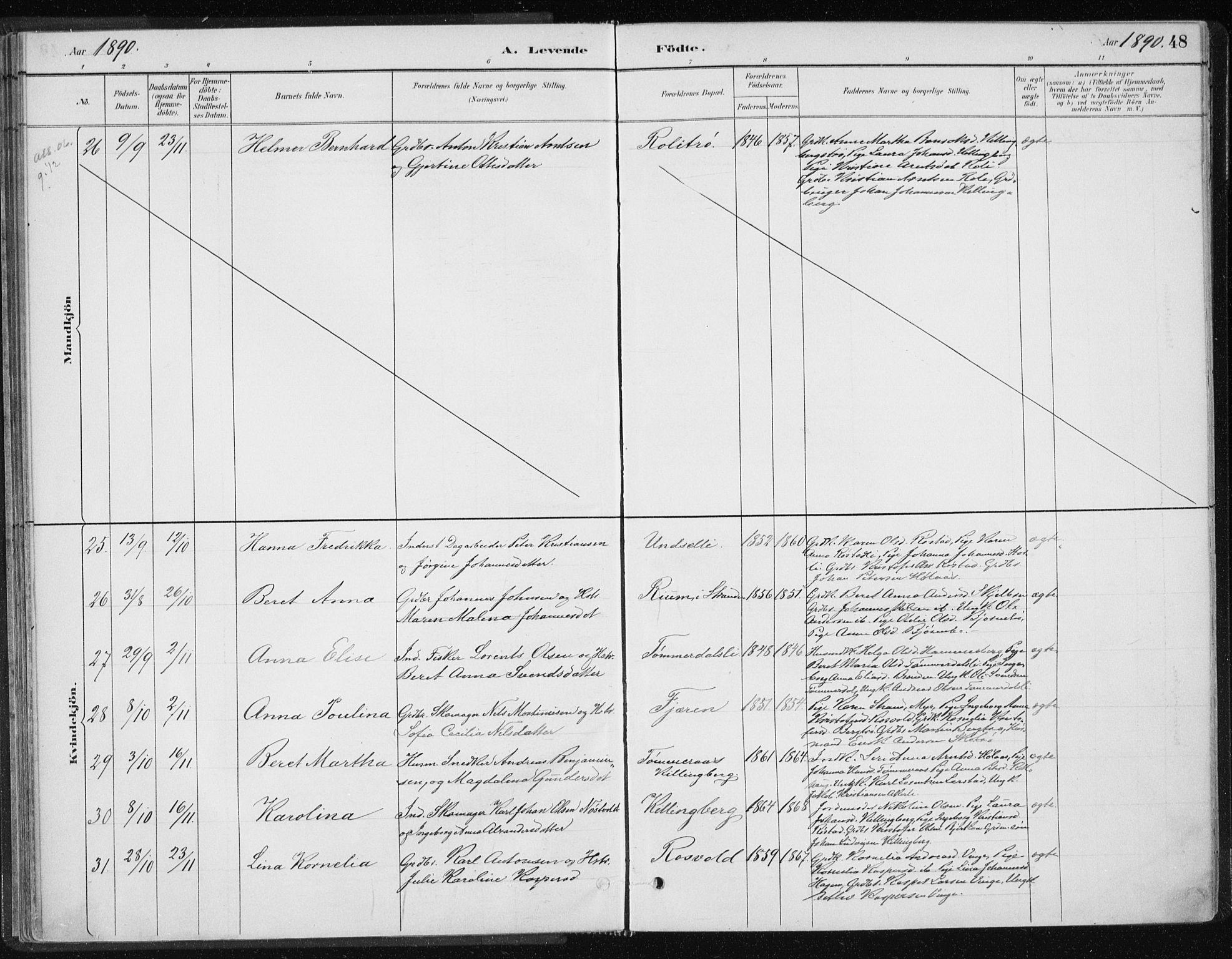 SAT, Ministerialprotokoller, klokkerbøker og fødselsregistre - Nord-Trøndelag, 701/L0010: Ministerialbok nr. 701A10, 1883-1899, s. 48