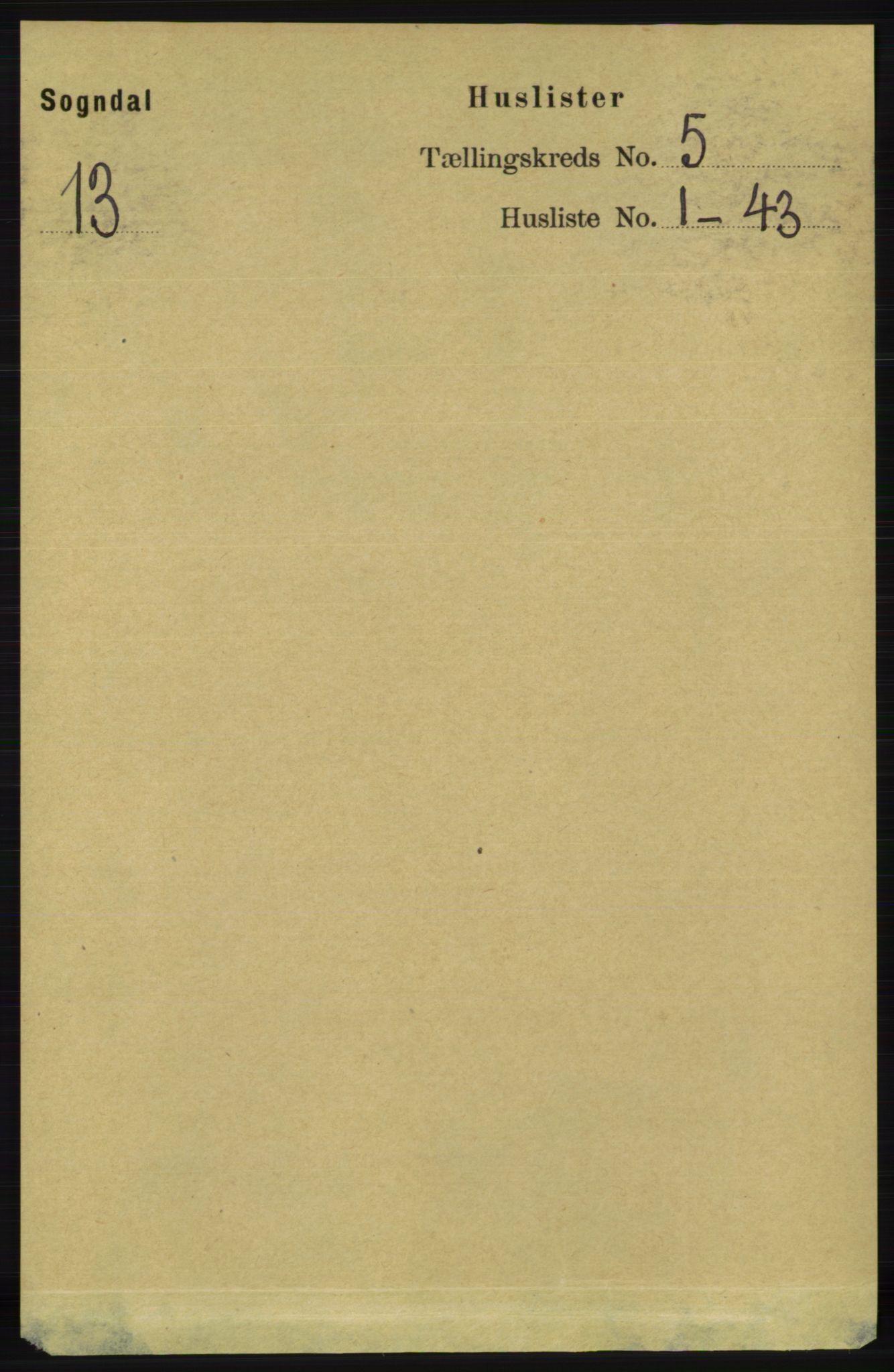 RA, Folketelling 1891 for 1111 Sokndal herred, 1891, s. 1275