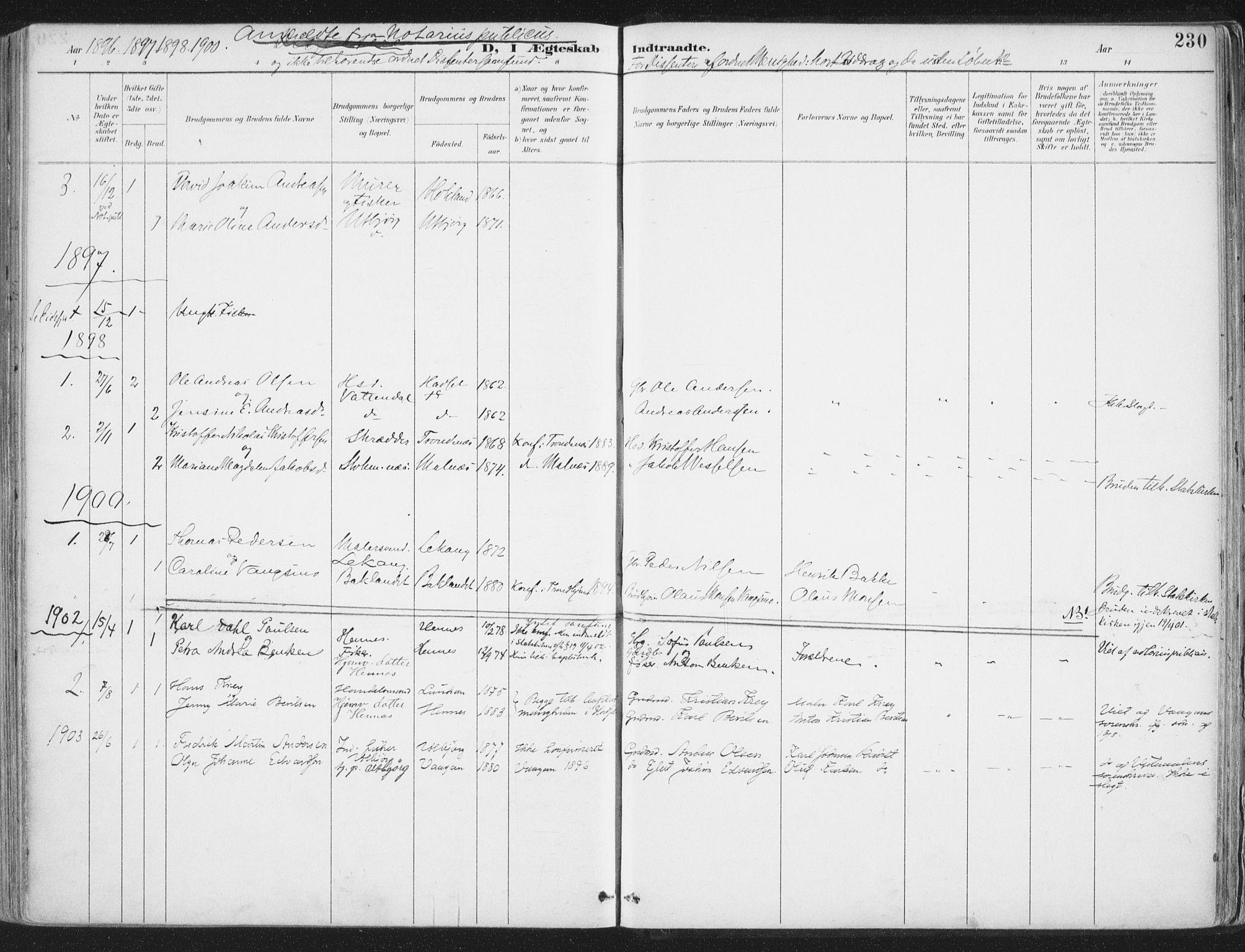 SAT, Ministerialprotokoller, klokkerbøker og fødselsregistre - Nordland, 888/L1246: Ministerialbok nr. 888A12, 1891-1903, s. 230