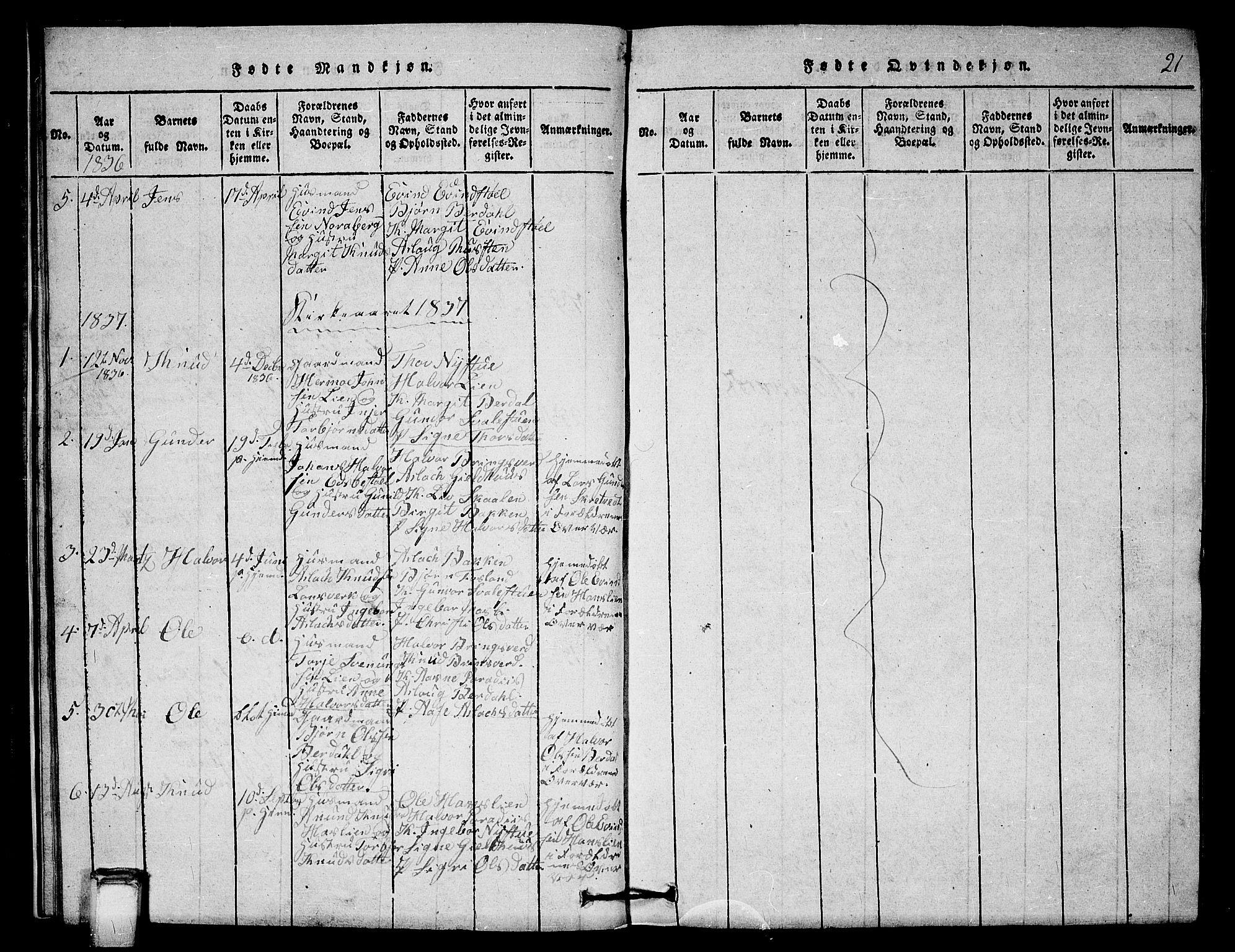 SAKO, Vinje kirkebøker, G/Gb/L0001: Klokkerbok nr. II 1, 1814-1843, s. 21