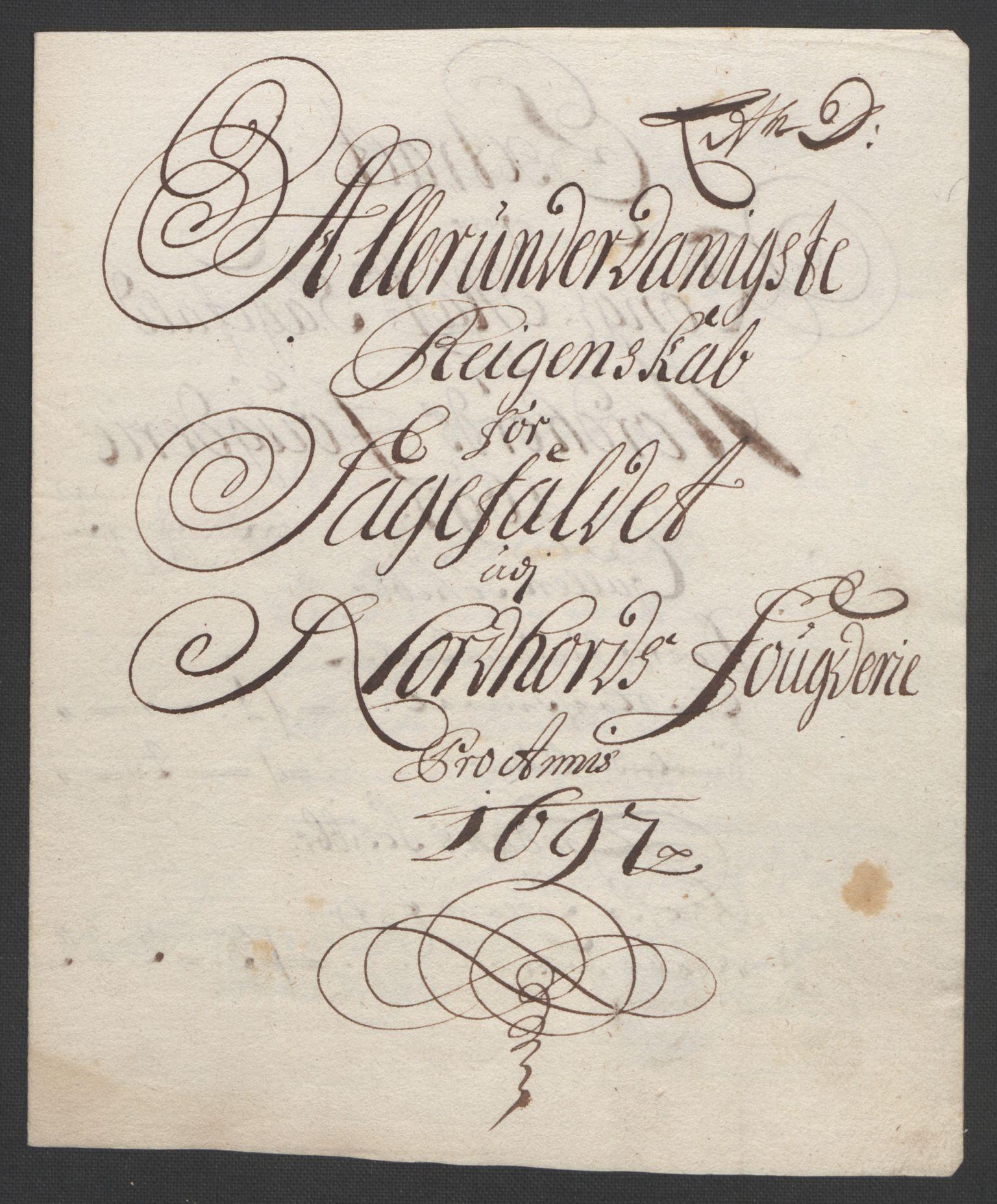 RA, Rentekammeret inntil 1814, Reviderte regnskaper, Fogderegnskap, R51/L3183: Fogderegnskap Nordhordland og Voss, 1695-1697, s. 438
