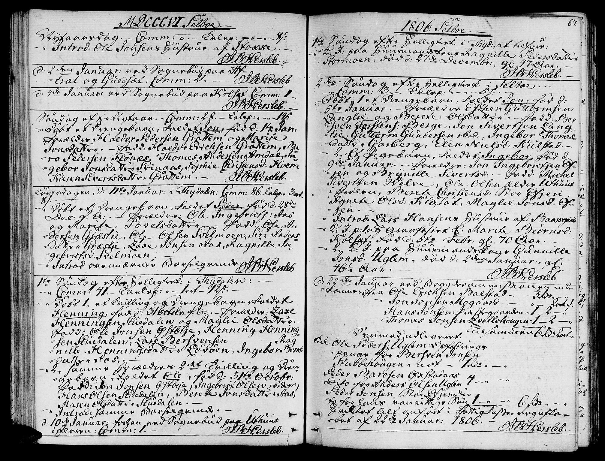 SAT, Ministerialprotokoller, klokkerbøker og fødselsregistre - Sør-Trøndelag, 695/L1140: Ministerialbok nr. 695A03, 1801-1815, s. 67