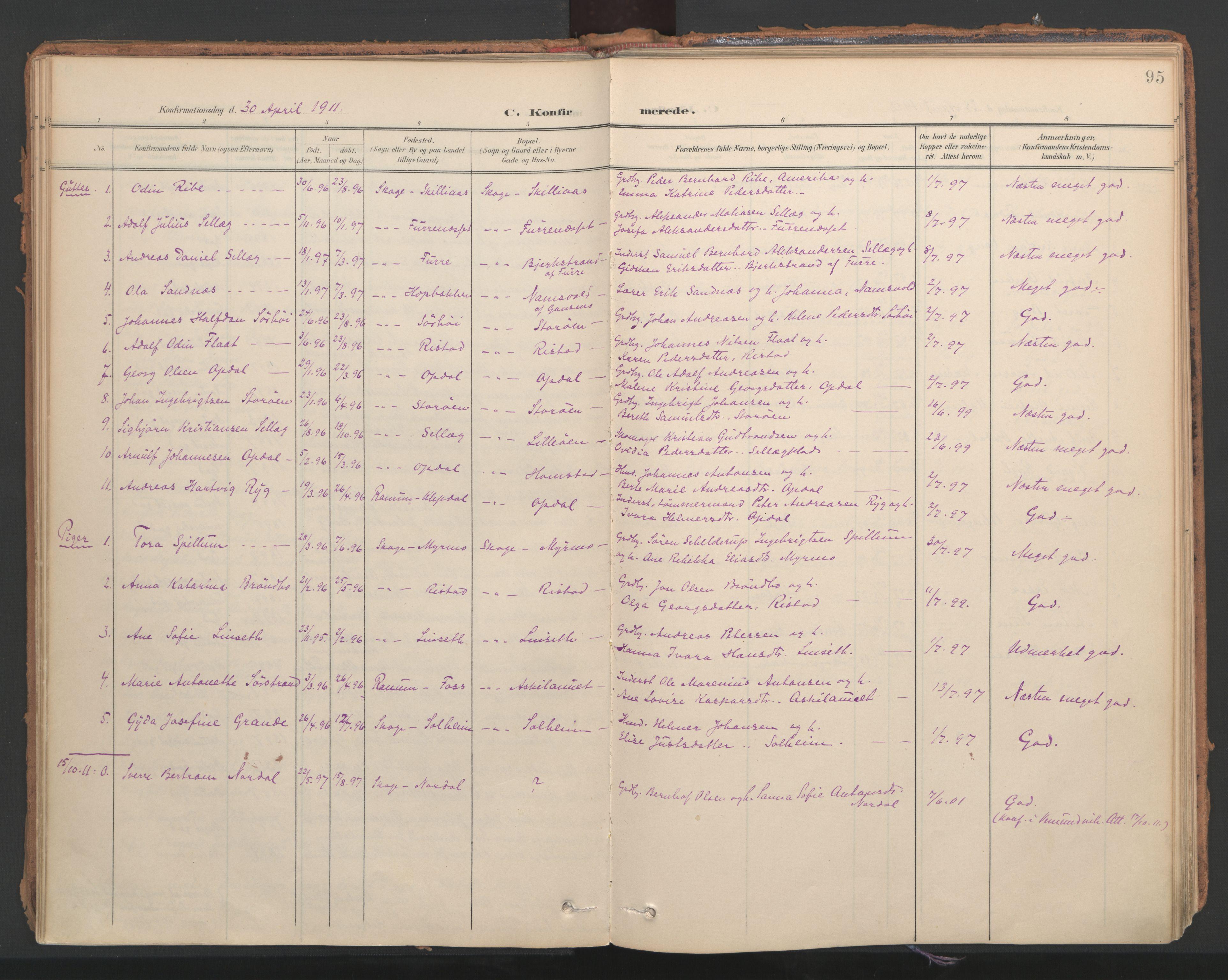 SAT, Ministerialprotokoller, klokkerbøker og fødselsregistre - Nord-Trøndelag, 766/L0564: Ministerialbok nr. 767A02, 1900-1932, s. 95