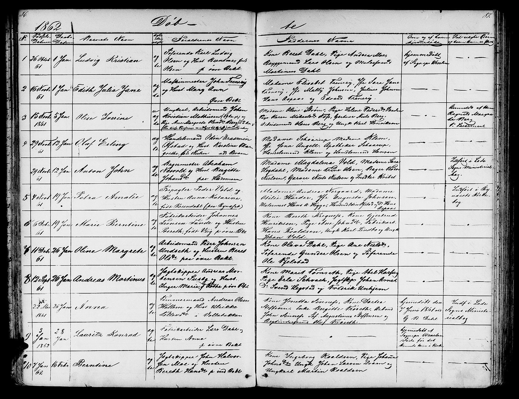 SAT, Ministerialprotokoller, klokkerbøker og fødselsregistre - Sør-Trøndelag, 604/L0219: Klokkerbok nr. 604C02, 1851-1869, s. 86-87