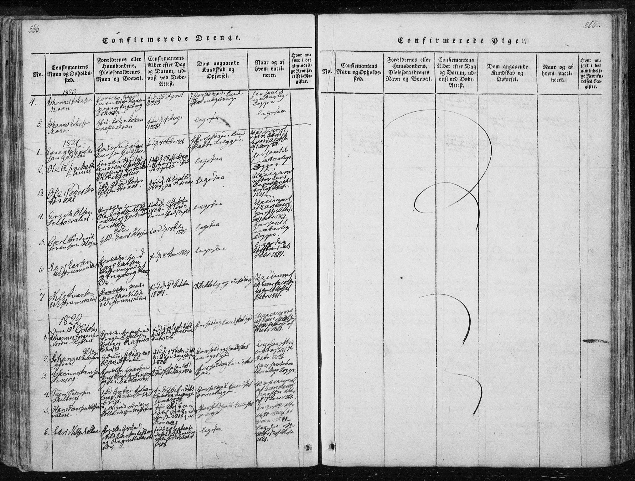 SAT, Ministerialprotokoller, klokkerbøker og fødselsregistre - Nord-Trøndelag, 717/L0148: Ministerialbok nr. 717A04 /3, 1816-1825, s. 565-566