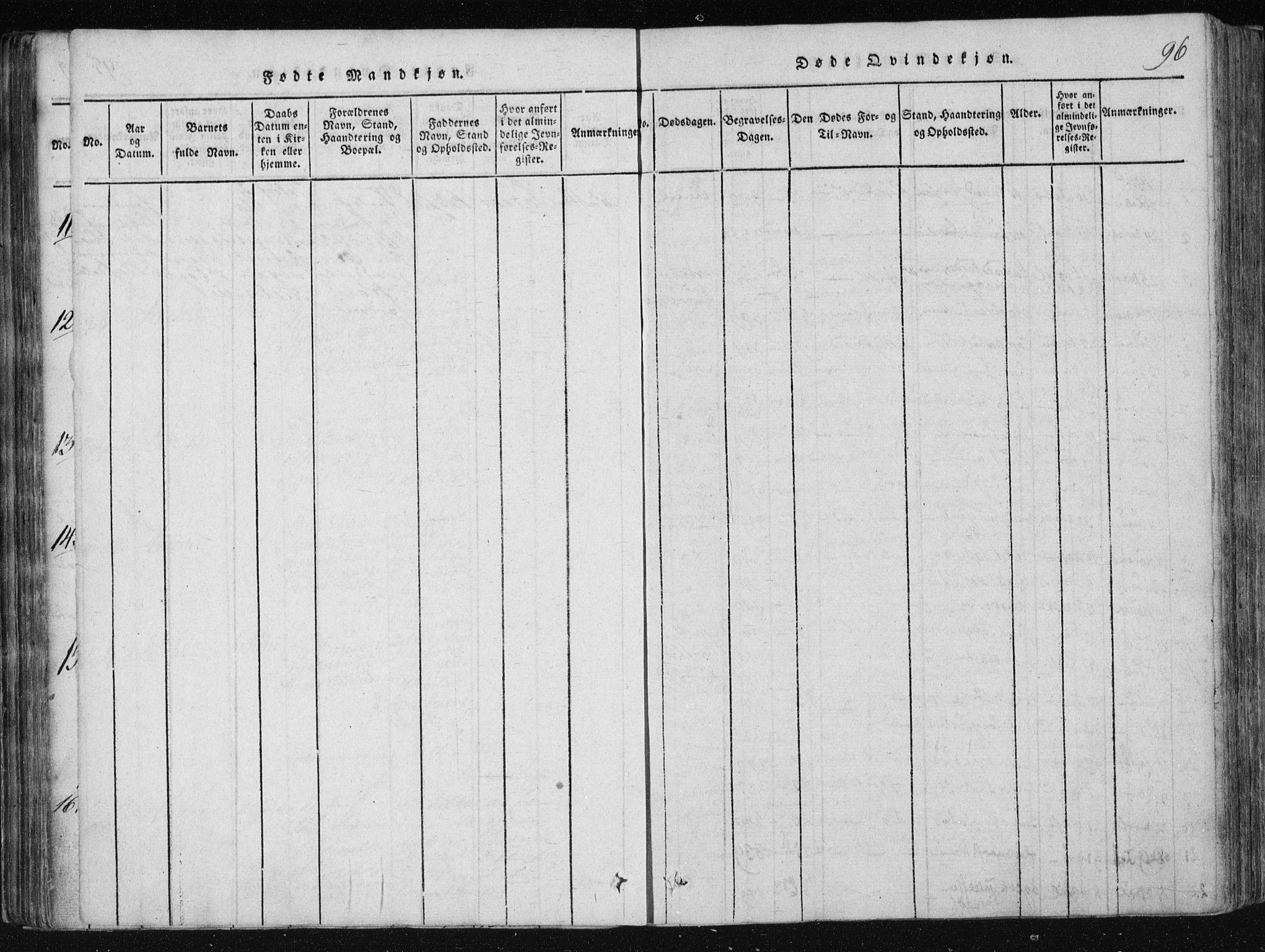 SAKO, Vinje kirkebøker, F/Fa/L0003: Ministerialbok nr. I 3, 1814-1843, s. 96