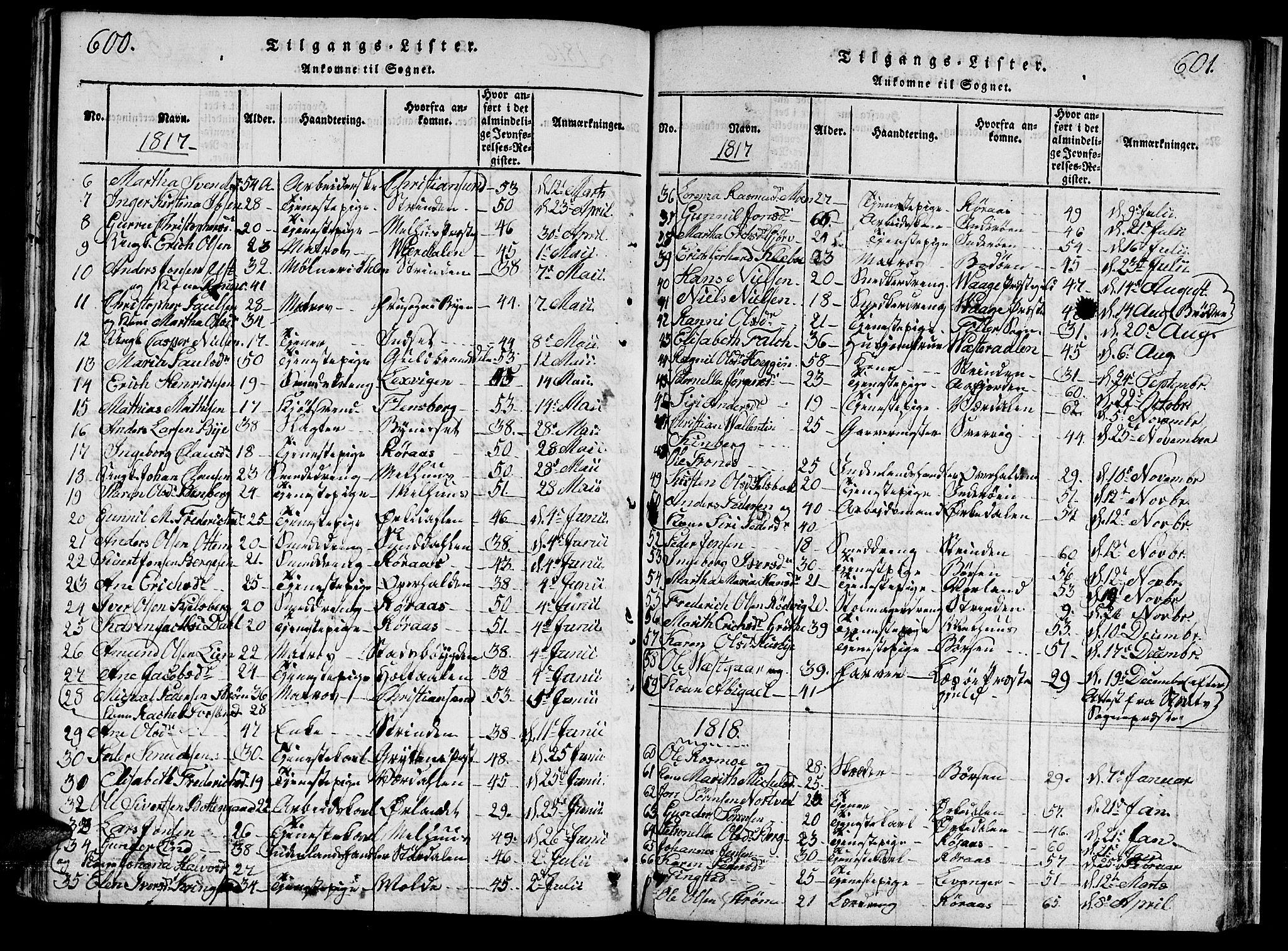SAT, Ministerialprotokoller, klokkerbøker og fødselsregistre - Sør-Trøndelag, 601/L0043: Ministerialbok nr. 601A11, 1815-1821, s. 600-601