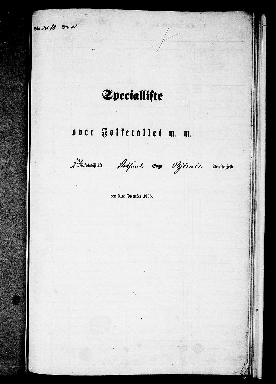 RA, Folketelling 1865 for 1632P Bjørnør prestegjeld, 1865, s. 136
