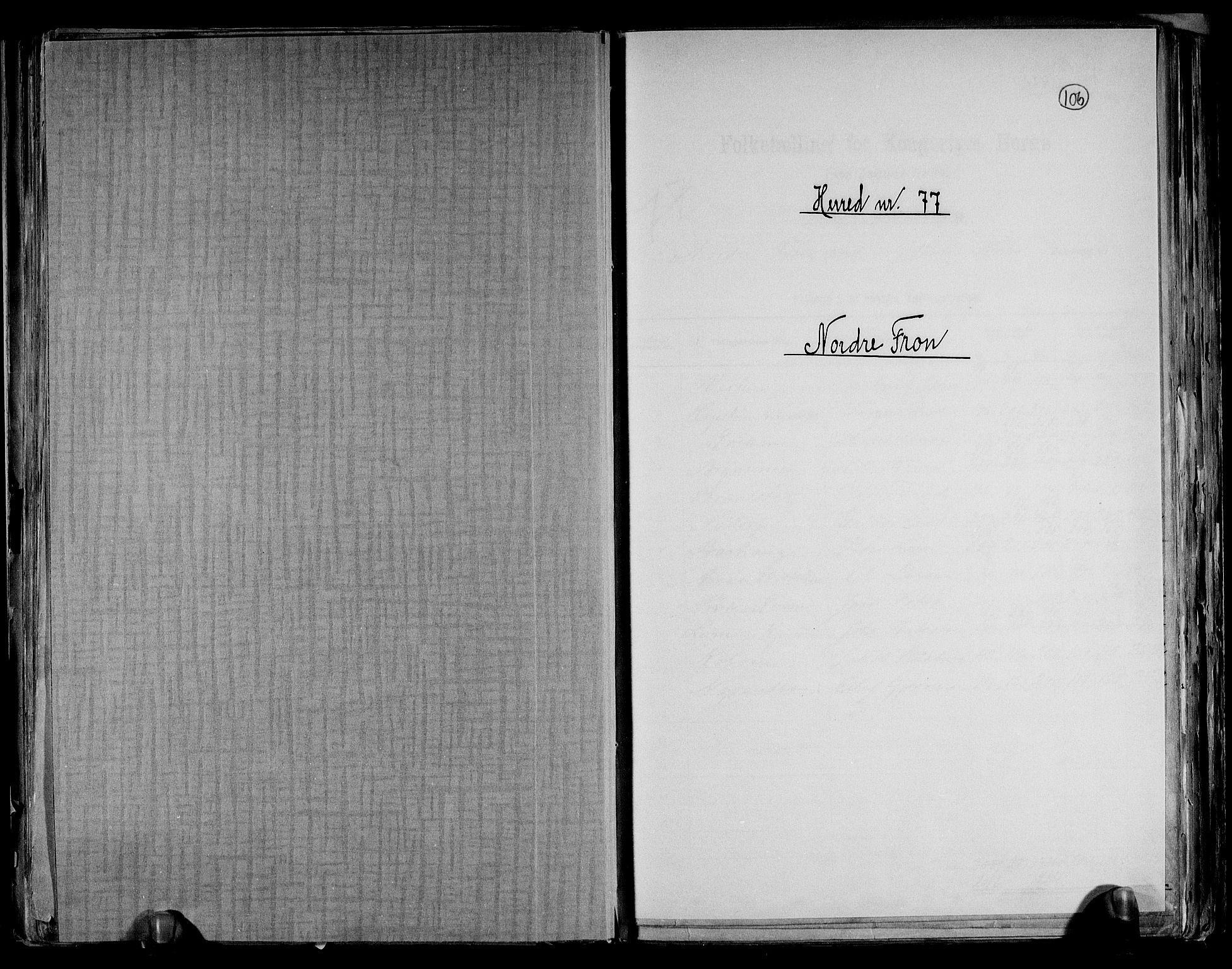 RA, Folketelling 1891 for 0518 Nord-Fron herred, 1891, s. 1