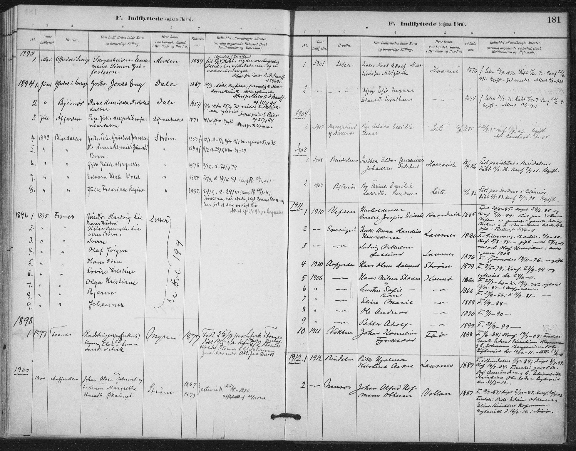 SAT, Ministerialprotokoller, klokkerbøker og fødselsregistre - Nord-Trøndelag, 772/L0603: Ministerialbok nr. 772A01, 1885-1912, s. 181