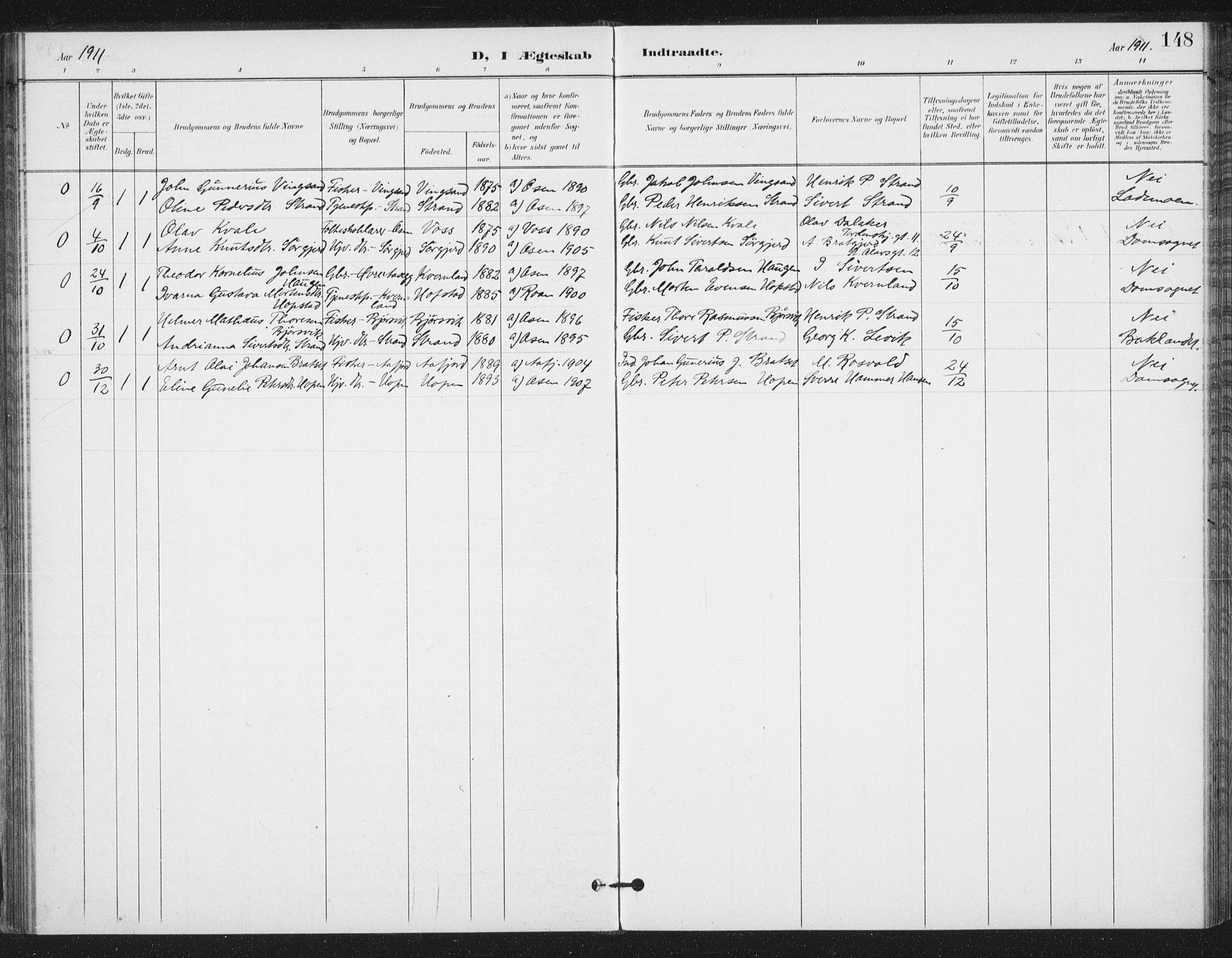 SAT, Ministerialprotokoller, klokkerbøker og fødselsregistre - Sør-Trøndelag, 658/L0723: Ministerialbok nr. 658A02, 1897-1912, s. 148