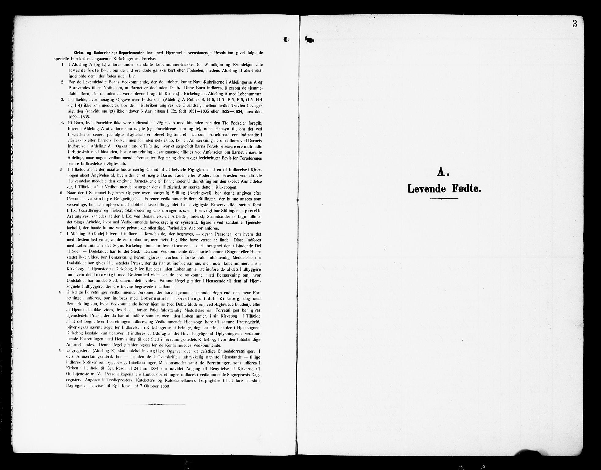 SAH, Nordre Land prestekontor, Klokkerbok nr. 1, 1908-1931, s. 3