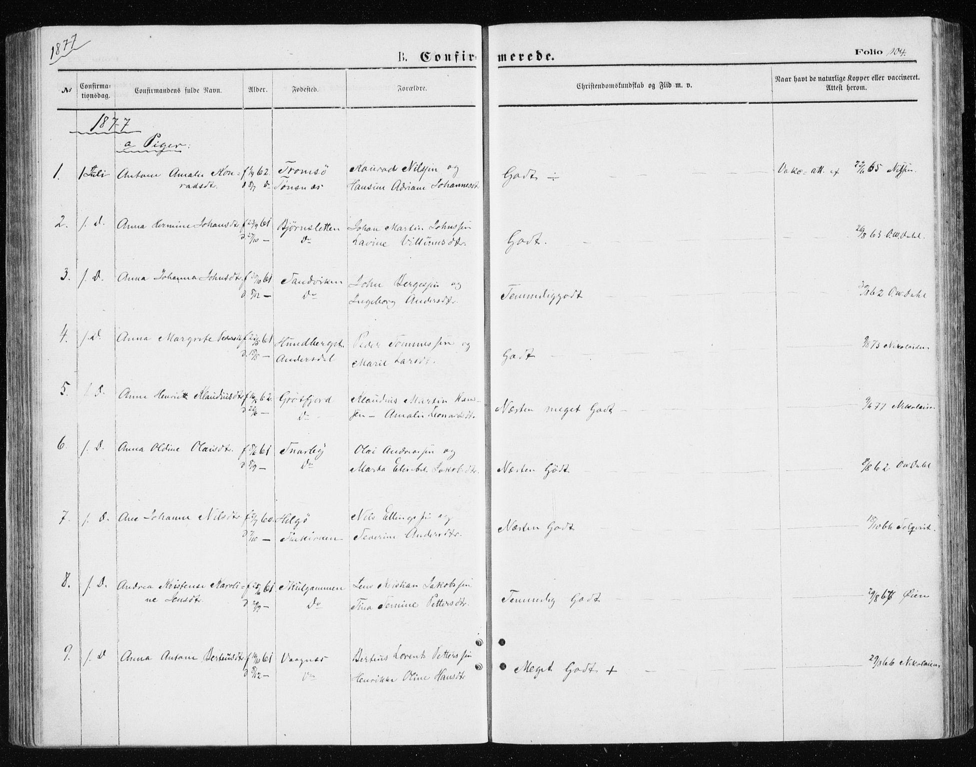 SATØ, Tromsøysund sokneprestkontor, G/Ga/L0003kirke: Ministerialbok nr. 3, 1875-1880, s. 104