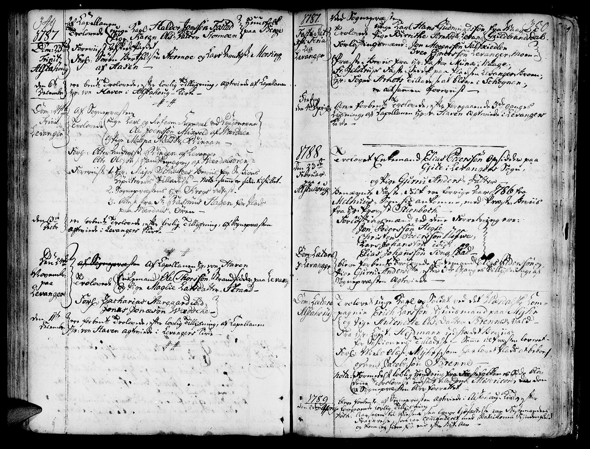 SAT, Ministerialprotokoller, klokkerbøker og fødselsregistre - Nord-Trøndelag, 717/L0141: Ministerialbok nr. 717A01, 1747-1803, s. 349-350
