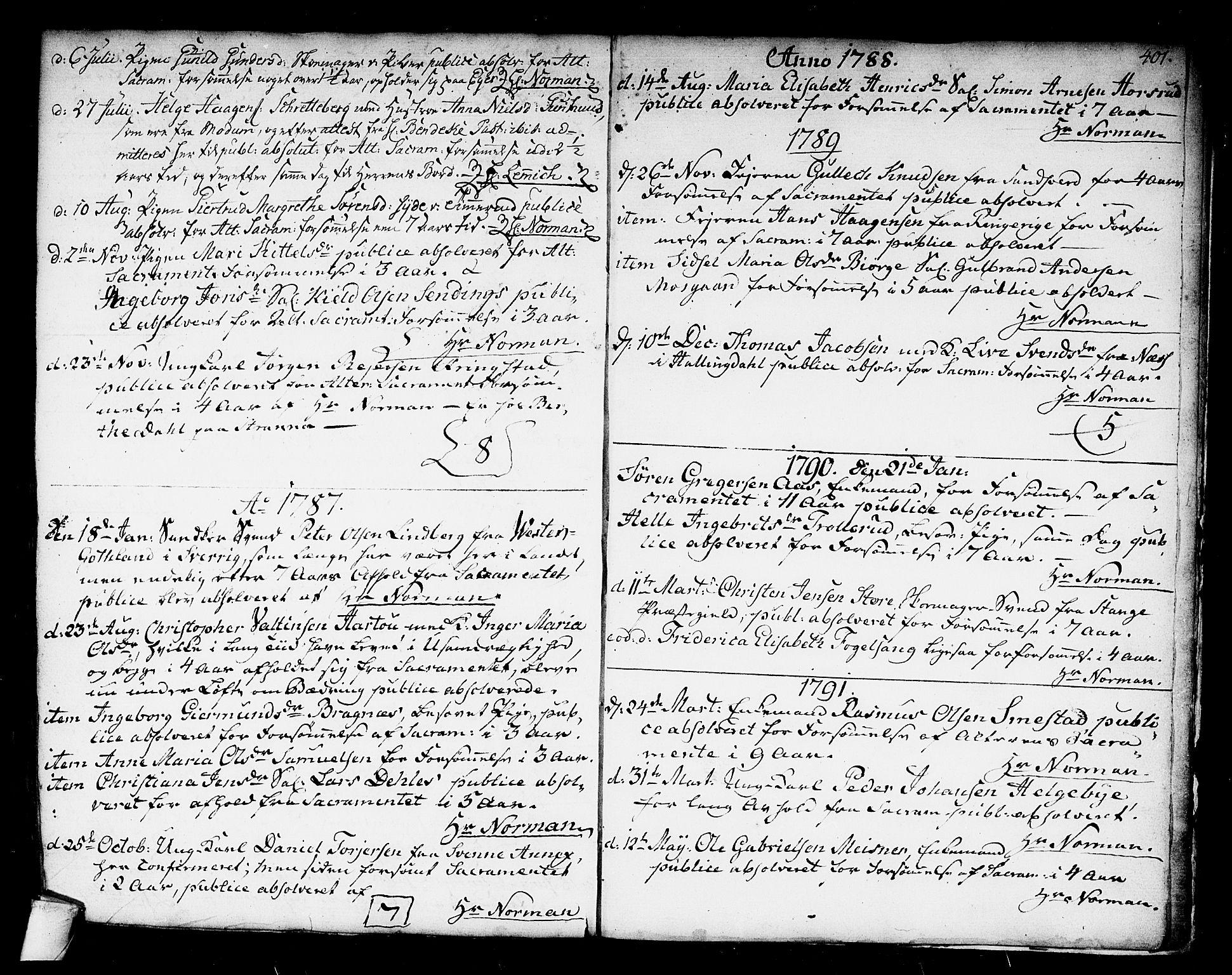 SAKO, Kongsberg kirkebøker, F/Fa/L0006: Ministerialbok nr. I 6, 1783-1797, s. 401