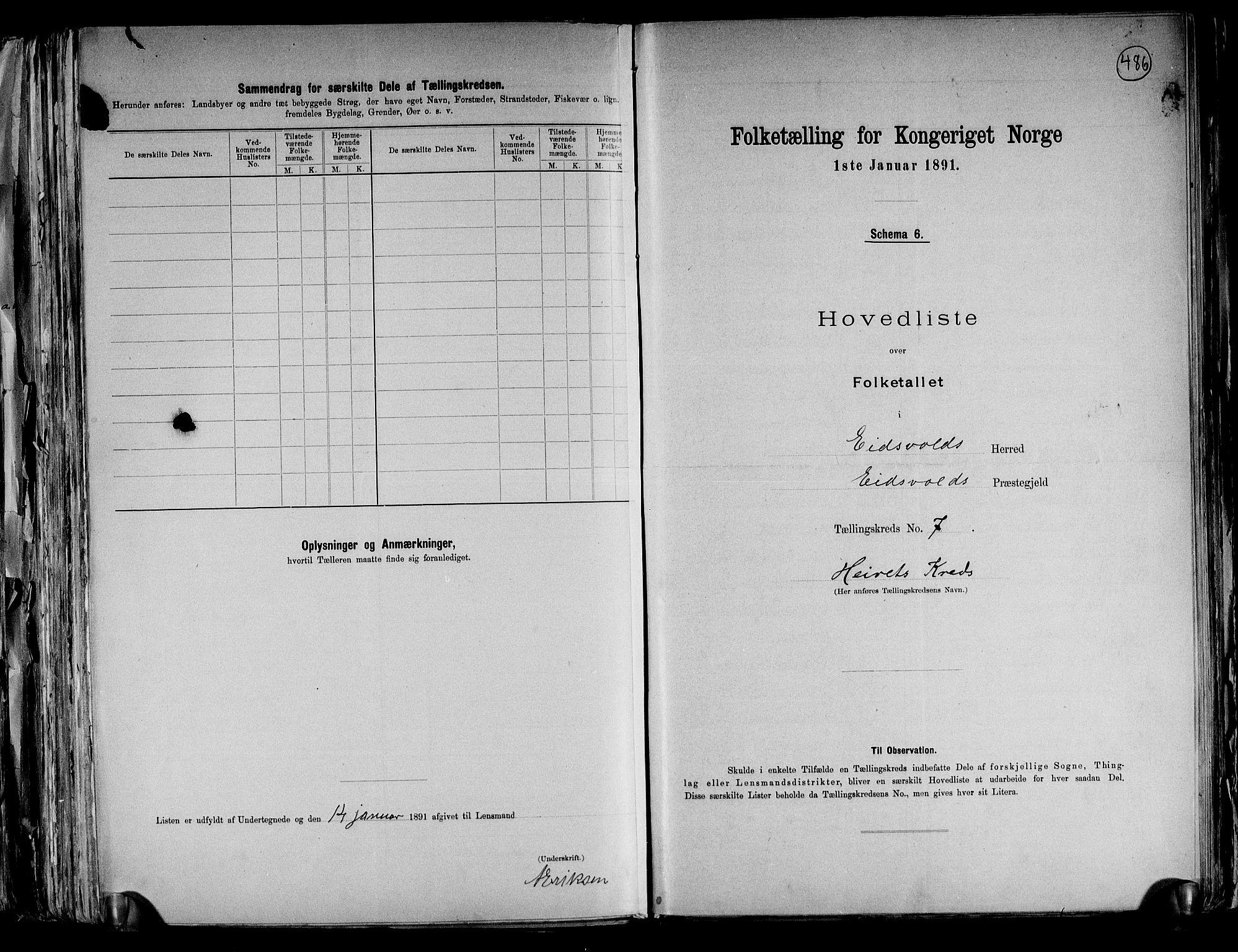 RA, Folketelling 1891 for 0237 Eidsvoll herred, 1891, s. 23