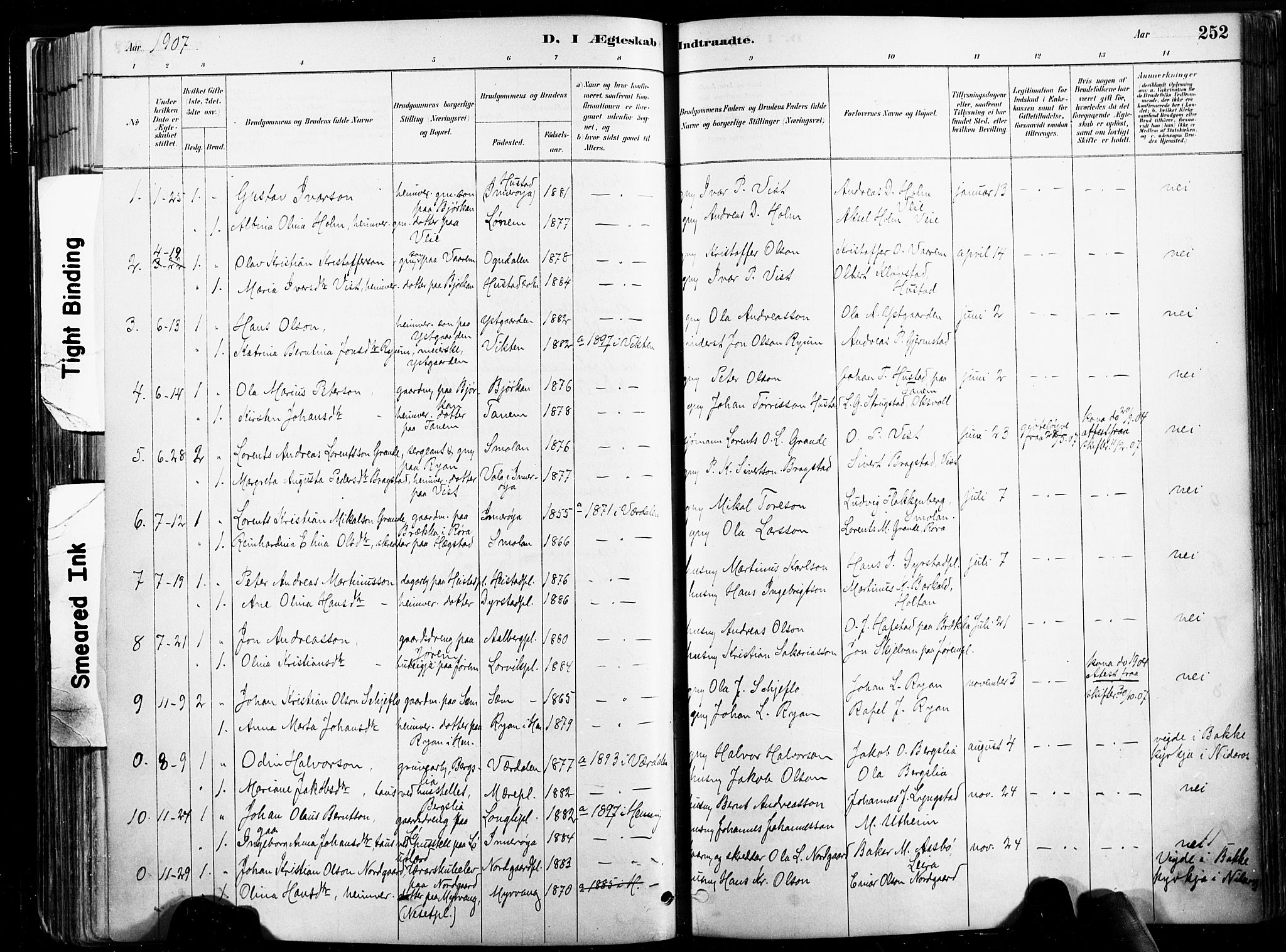 SAT, Ministerialprotokoller, klokkerbøker og fødselsregistre - Nord-Trøndelag, 735/L0351: Ministerialbok nr. 735A10, 1884-1908, s. 252