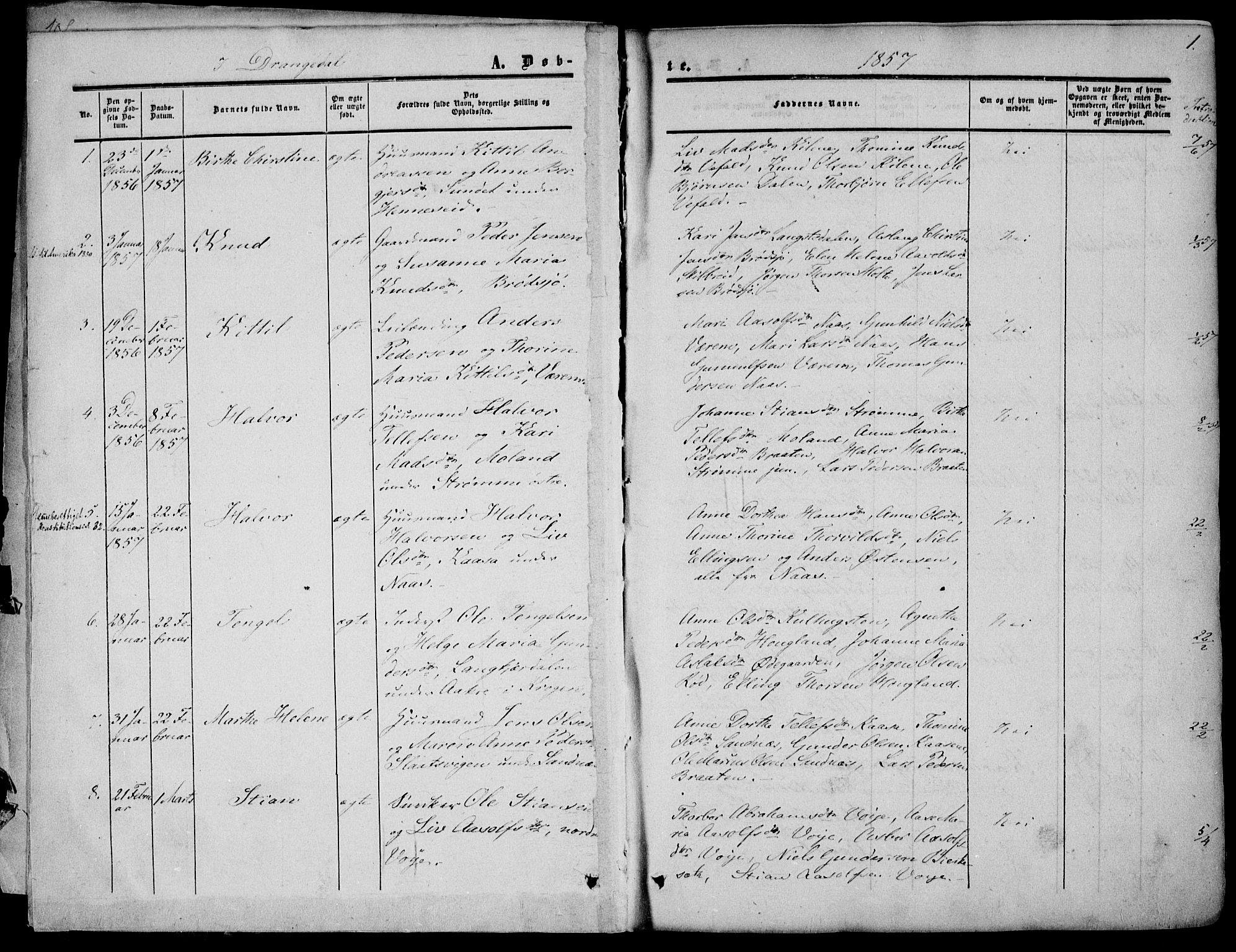 SAKO, Drangedal kirkebøker, F/Fa/L0008: Ministerialbok nr. 8, 1857-1871, s. 1