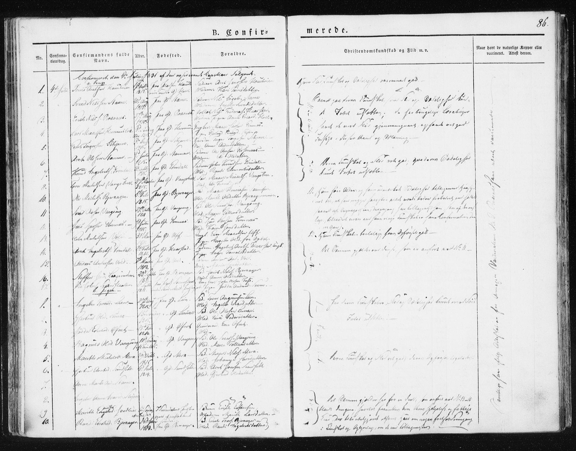 SAT, Ministerialprotokoller, klokkerbøker og fødselsregistre - Sør-Trøndelag, 674/L0869: Ministerialbok nr. 674A01, 1829-1860, s. 86