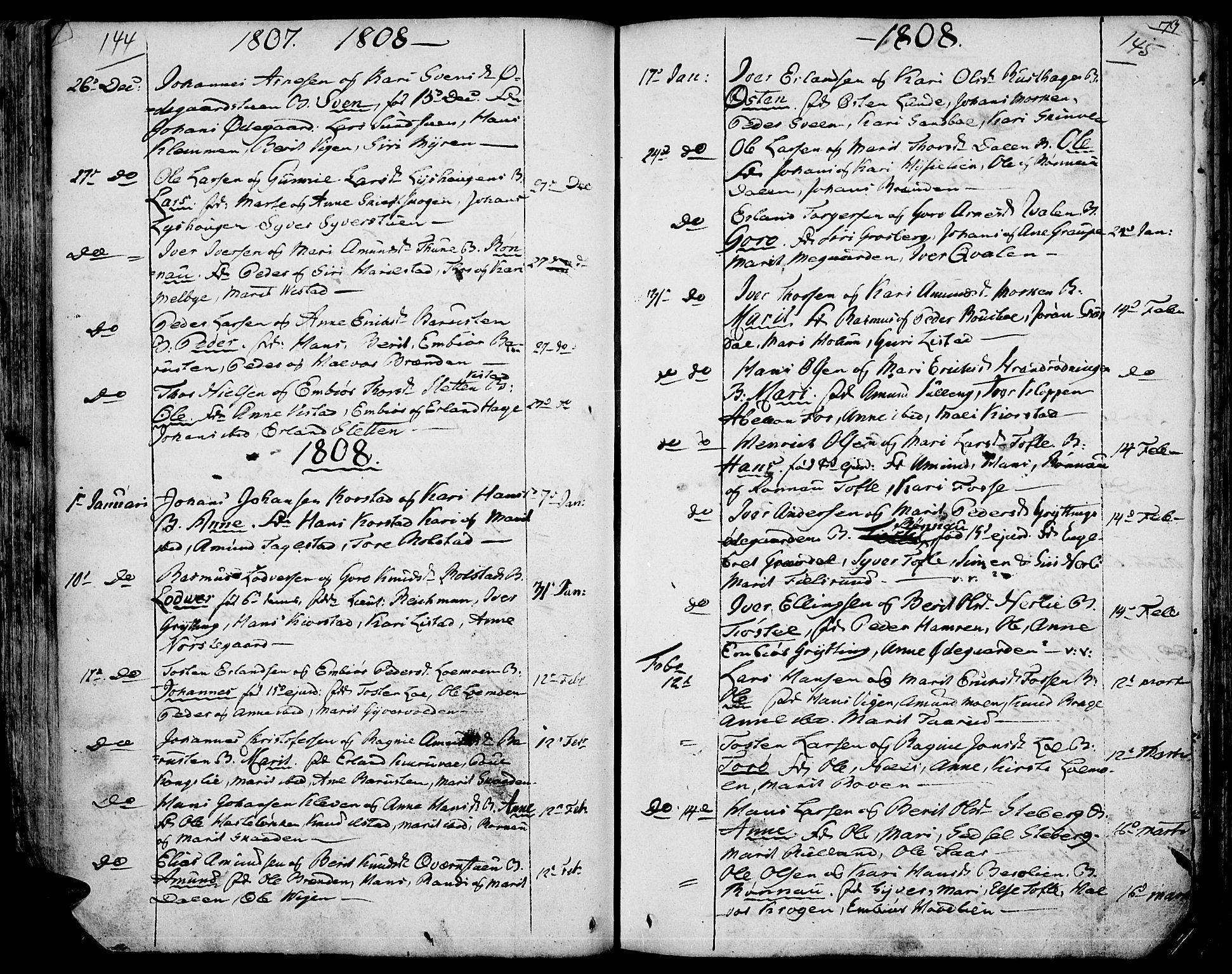 SAH, Fron prestekontor, H/Ha/Haa/L0001: Ministerialbok nr. 1, 1799-1816, s. 144-145