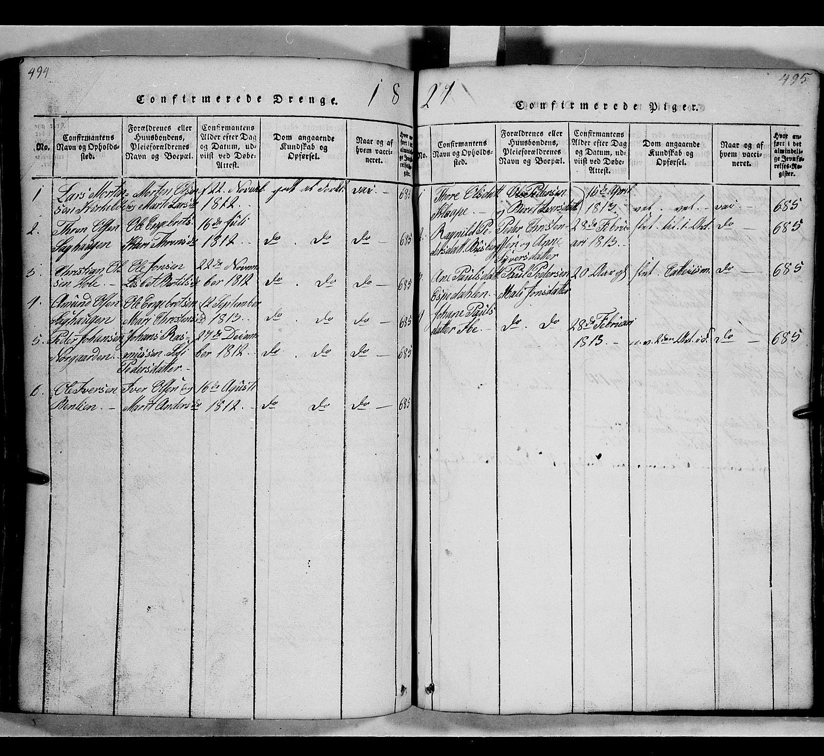 SAH, Gausdal prestekontor, Klokkerbok nr. 2, 1818-1874, s. 494-495
